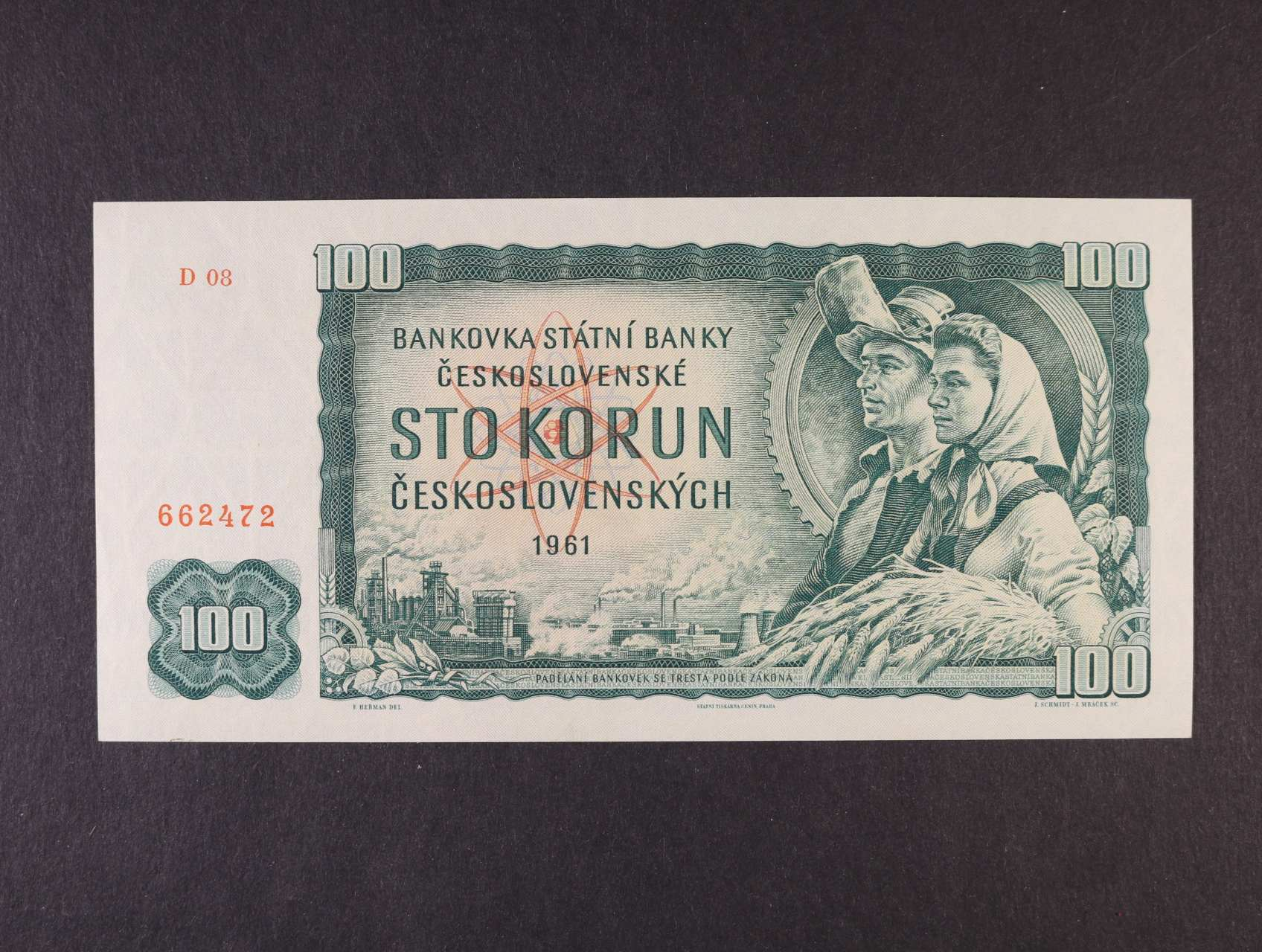 100 Kčs 1961 série D 08, vodoznaková výztuž na líci bankovky, Ba. 98a2, Pi. 91