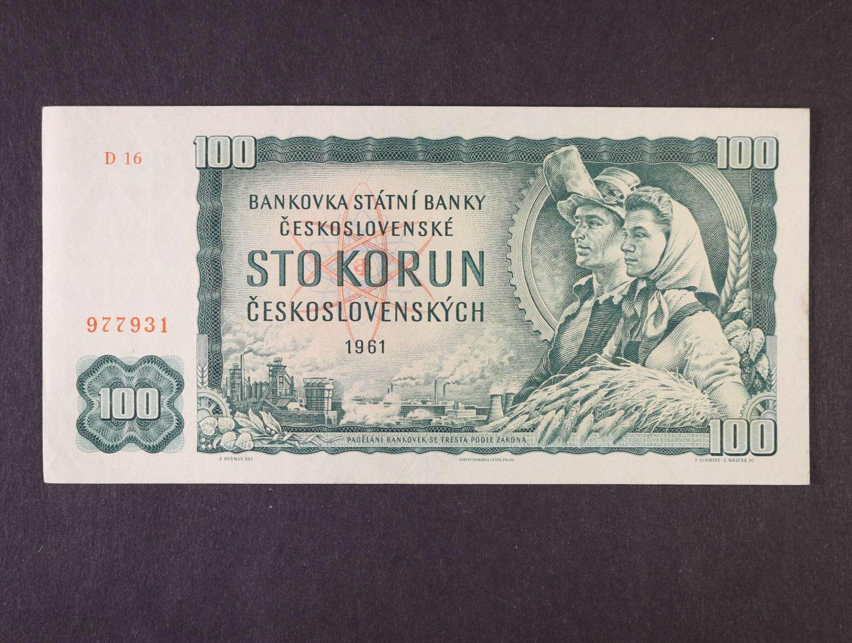 100 Kčs 1961 série D 16, vodoznaková výztuž na líci bankovky, Ba. 98a2, Pi. 91
