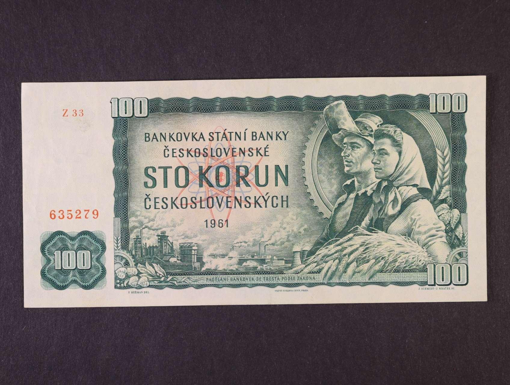100 Kčs 1961 série Z 33, Ba. 98b2, Pi. 91