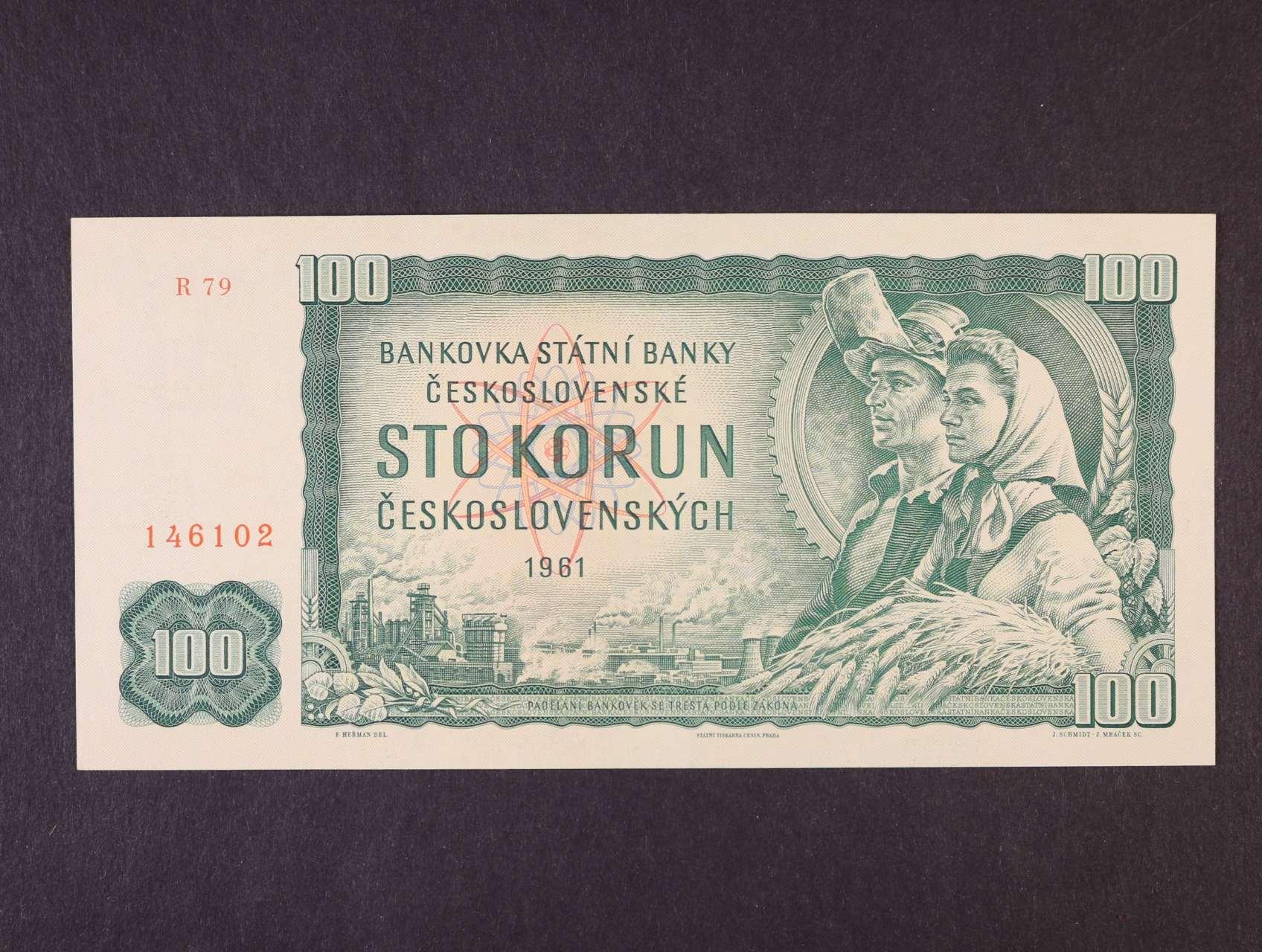 100 Kčs 1961 série R 79 široký číslovač 1c, Ba. 98b3, Pi. 91