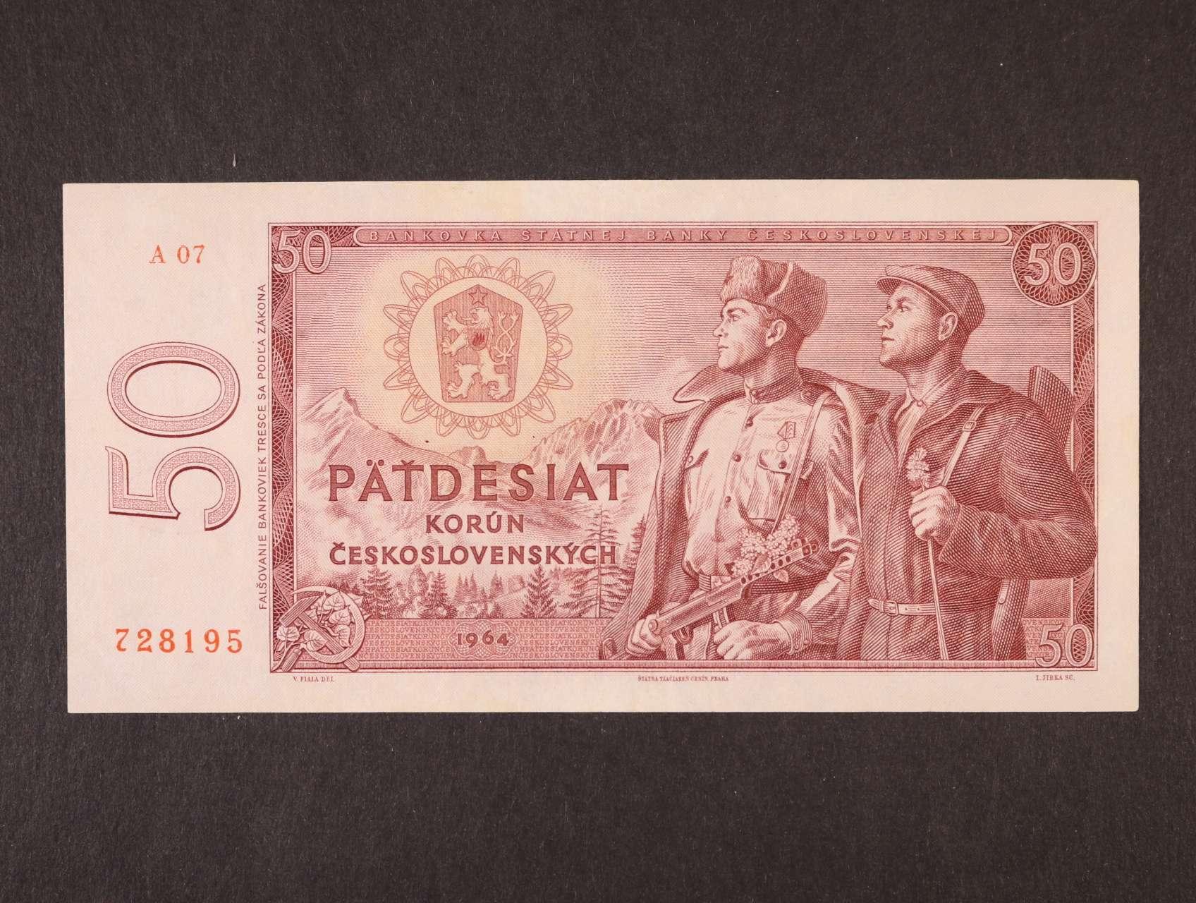 50 Kčs 1964 série A 07, Ba. 99b1, Pi. 90a