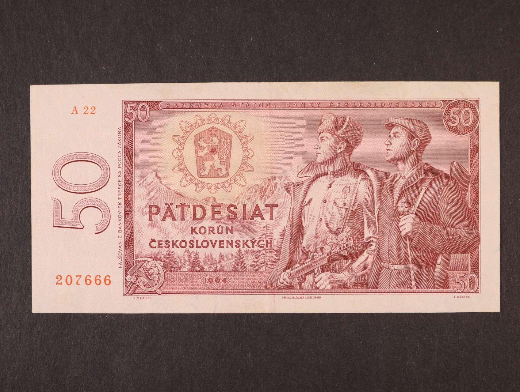 50 Kčs 1964 série A 22, Ba. 99b1, Pi. 90a