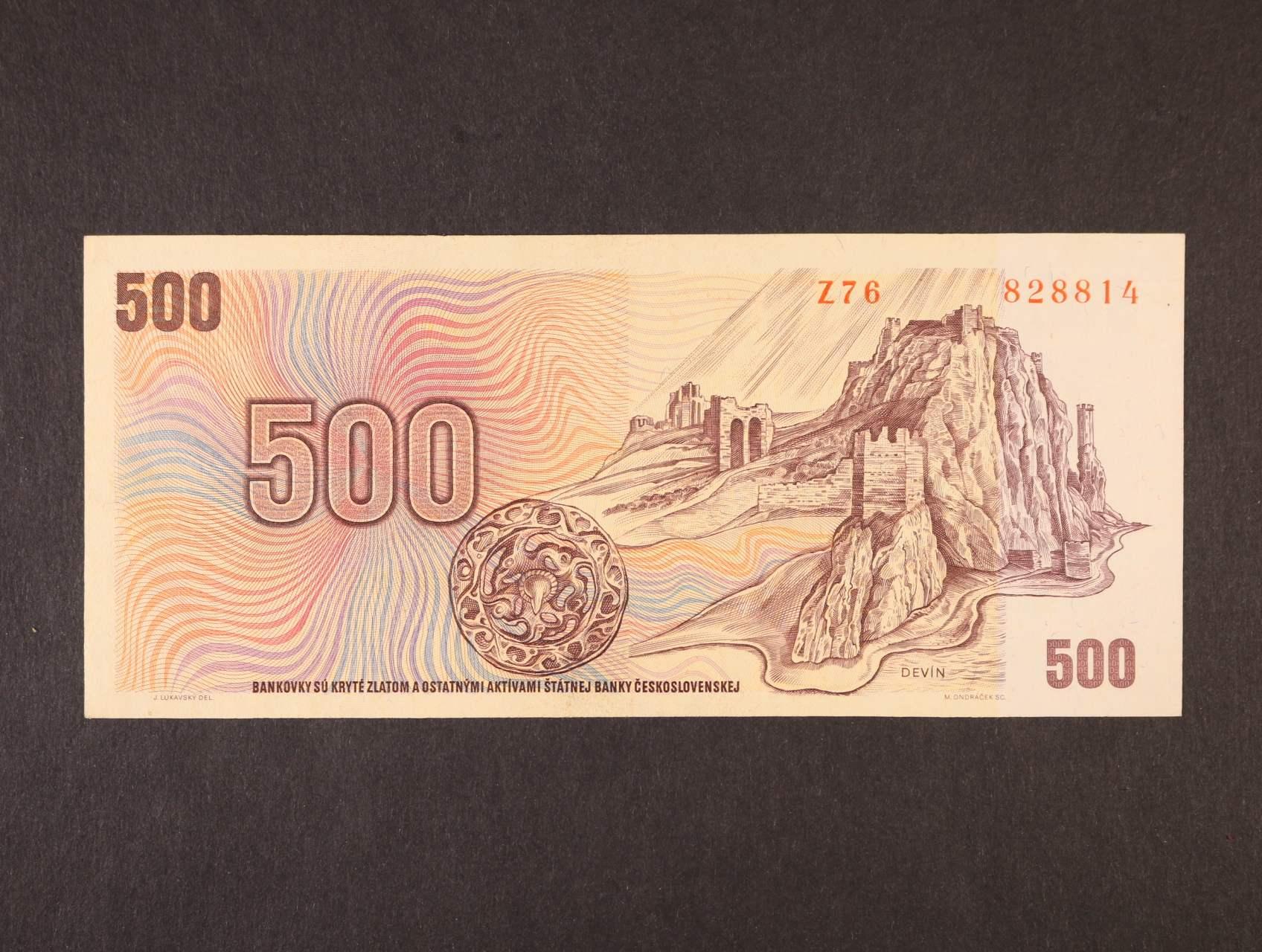 500 Kčs 1973 série Z 76, Ba. 101, Pi. 93