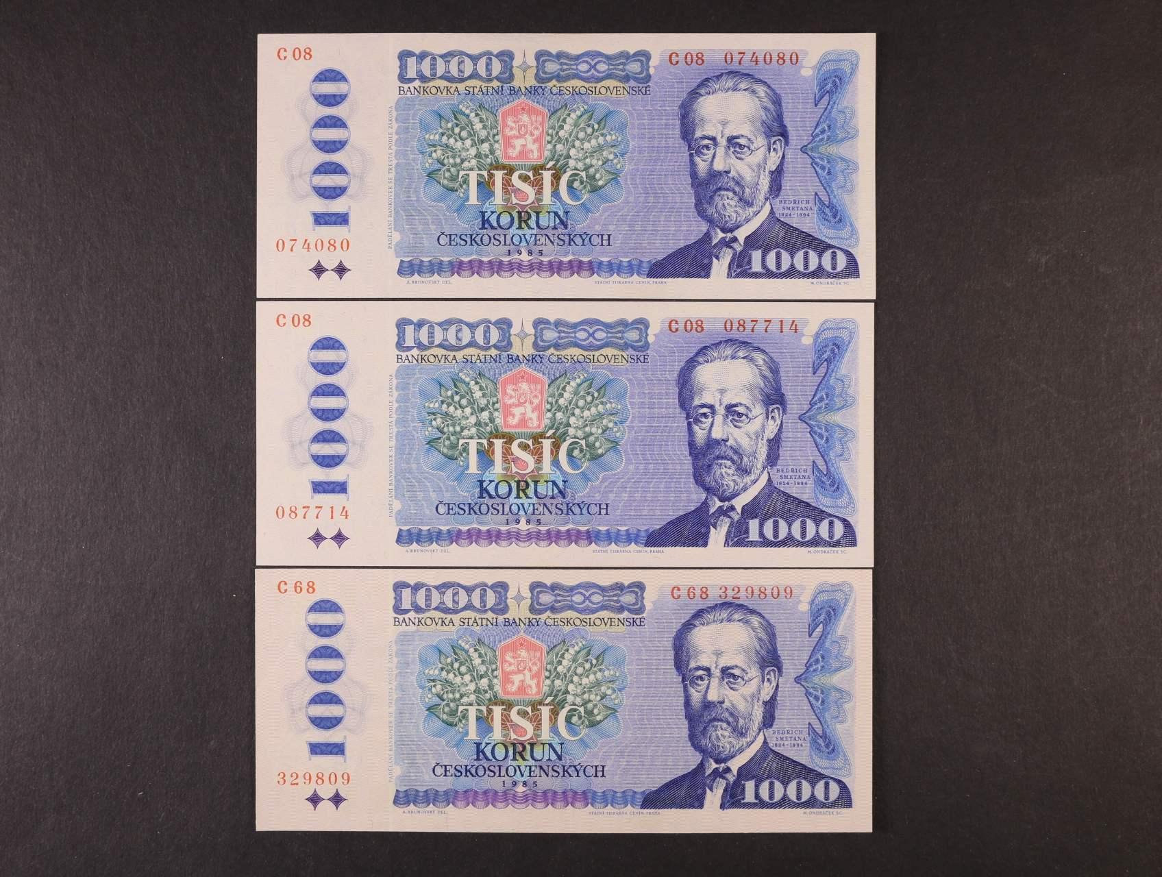 1000 Kčs 1985 série C 08 (2x), C 68, Ba. 102a, Pi. 98, 3ks