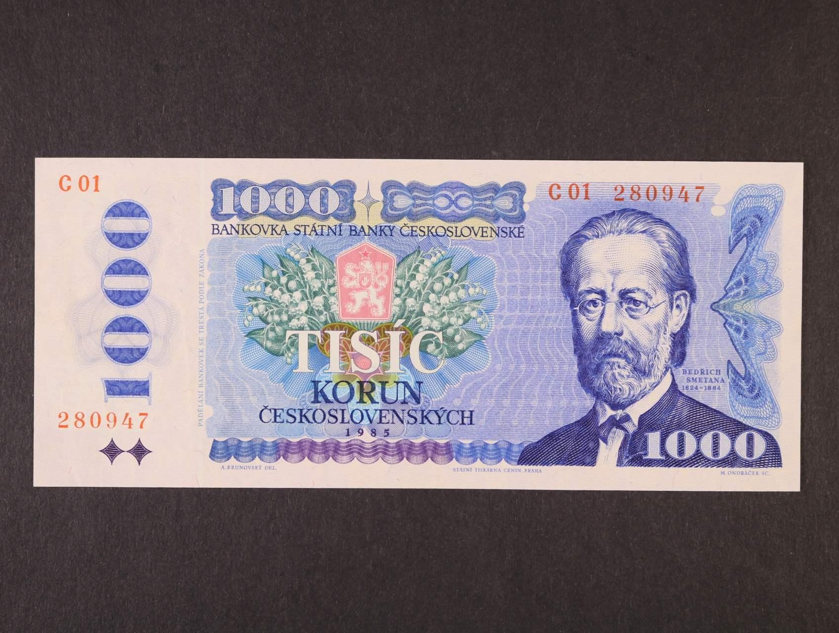 1000 Kčs 1985 série C 01, Ba. 102a, Pi. 98