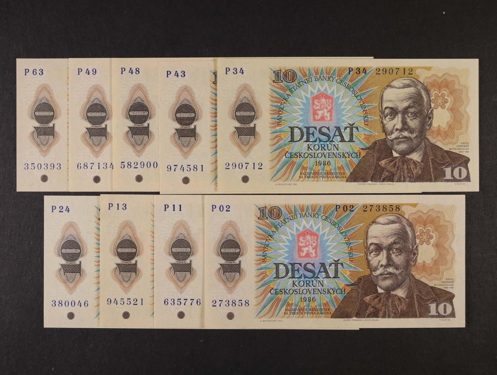 10 Kčs 1986 série P 02, 11, 13, 24, 34, 43, 48, 49, 63, Ba. 103, Pi. 94a, 9ks