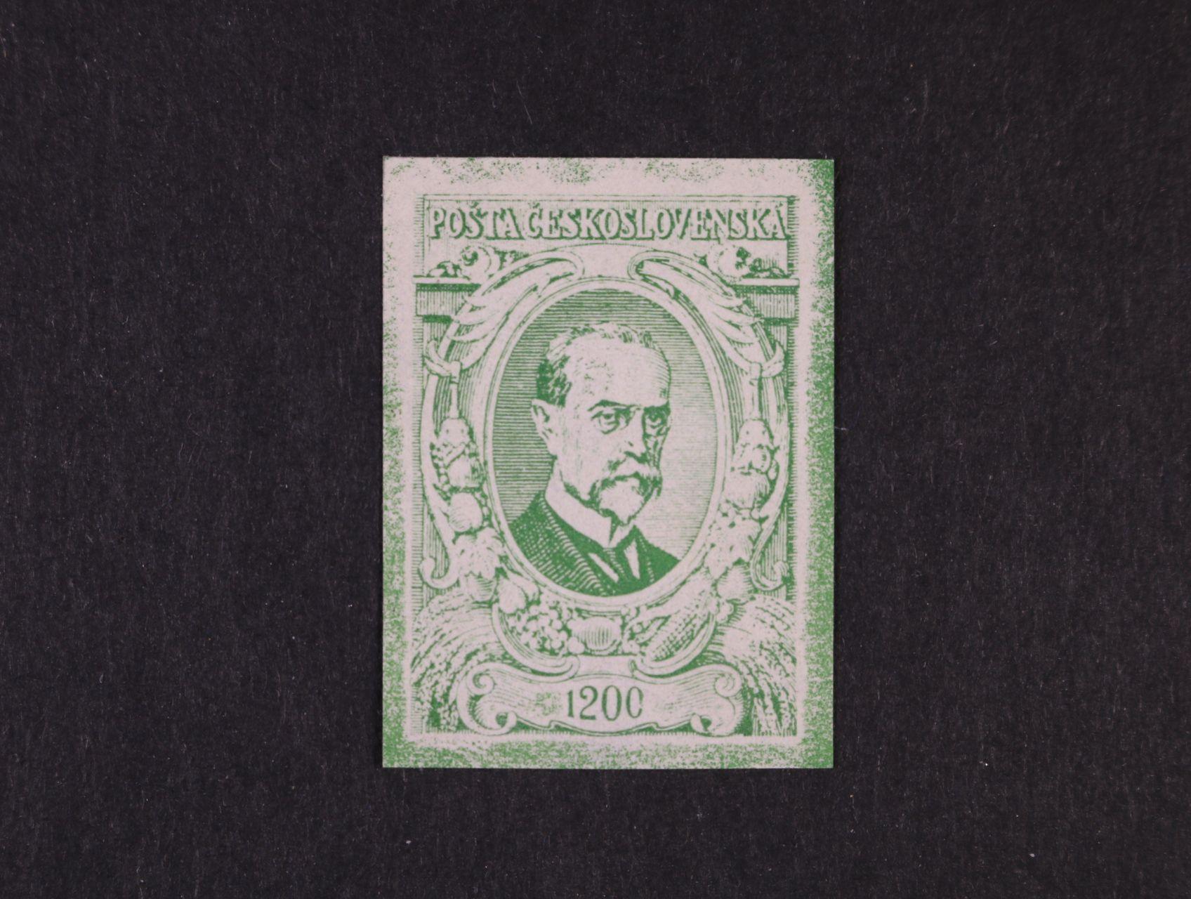 ZT nevydané hodnoty 1200h knihtisk v barvě zelené z nevyčištěné desky, zk. Stupka