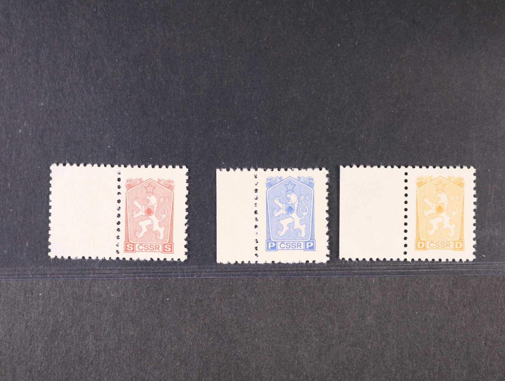 sada nevydaných kolků vzoru 1962 s ozn. D, P, S