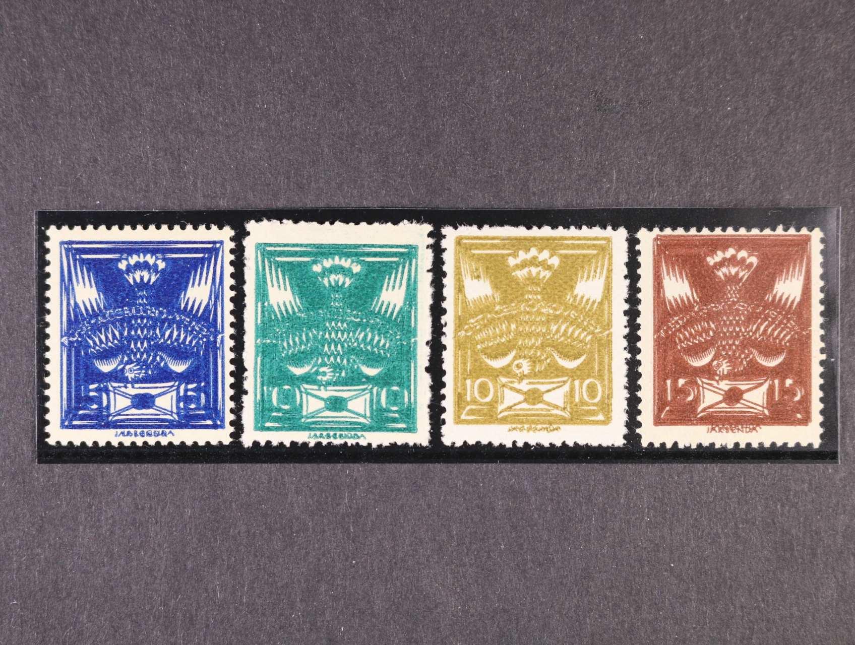 zn. č. 143, 145 - 7 - sestava 4 ks dvojitých tisků, zk. Gilbert, Karásek, Vrba, kat. cena 2400 Kč