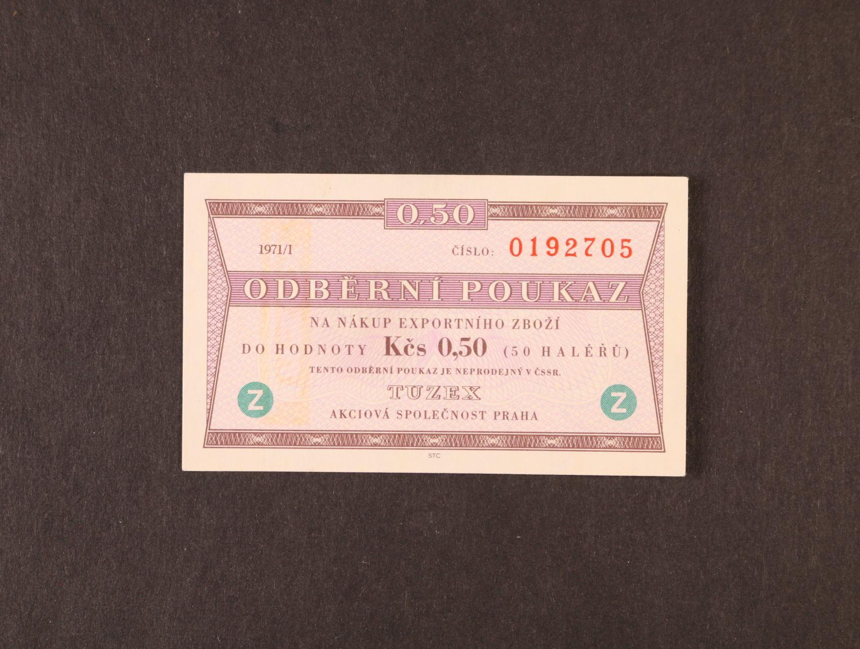 Tuzex, 0,50 TKčs s datem 1971/I