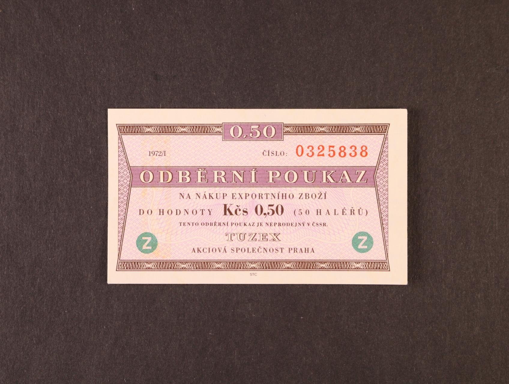 Tuzex, 0,50 TKčs s datem 1972/I