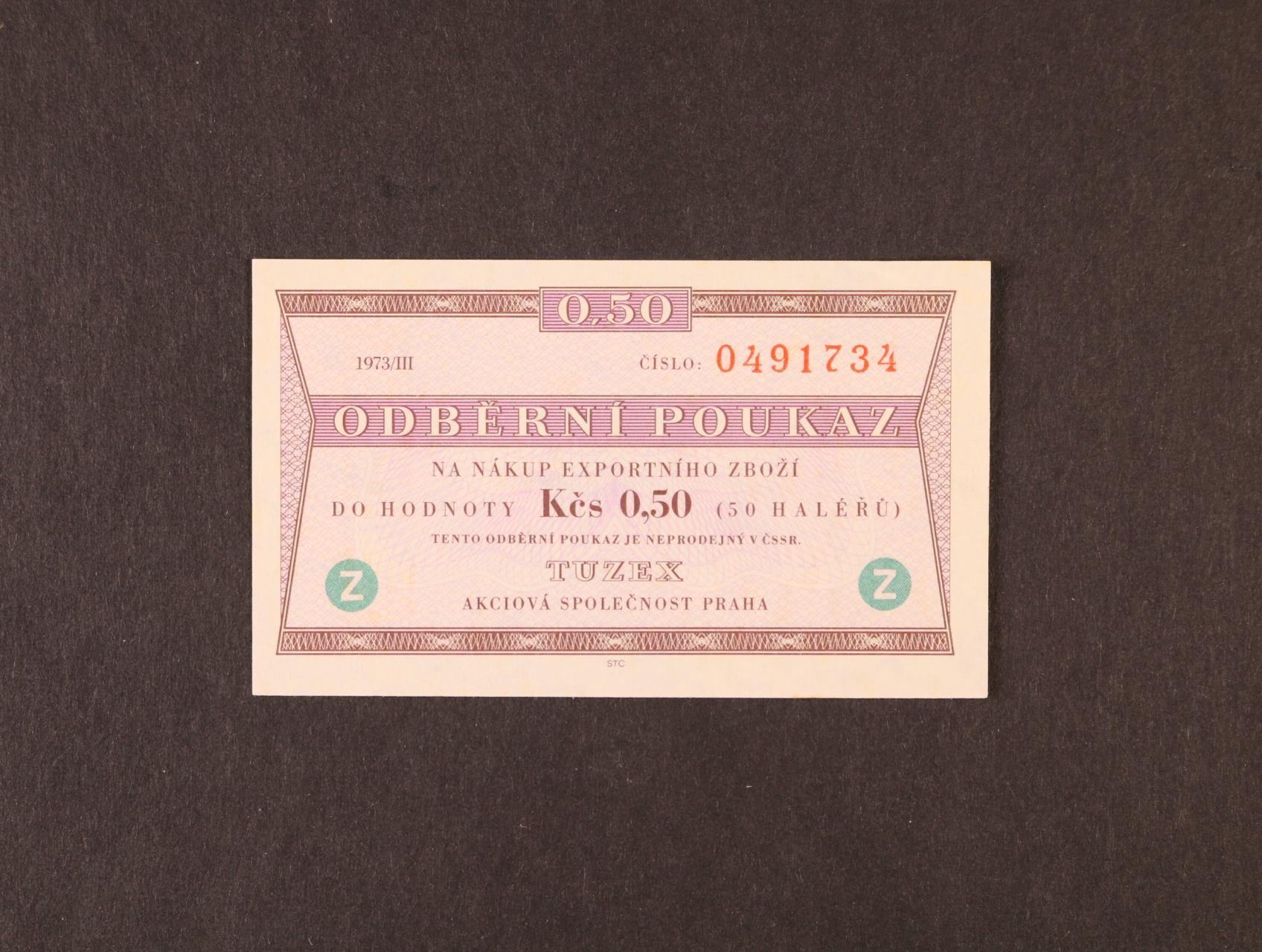 Tuzex, 0,50 TKčs s datem 1973/III