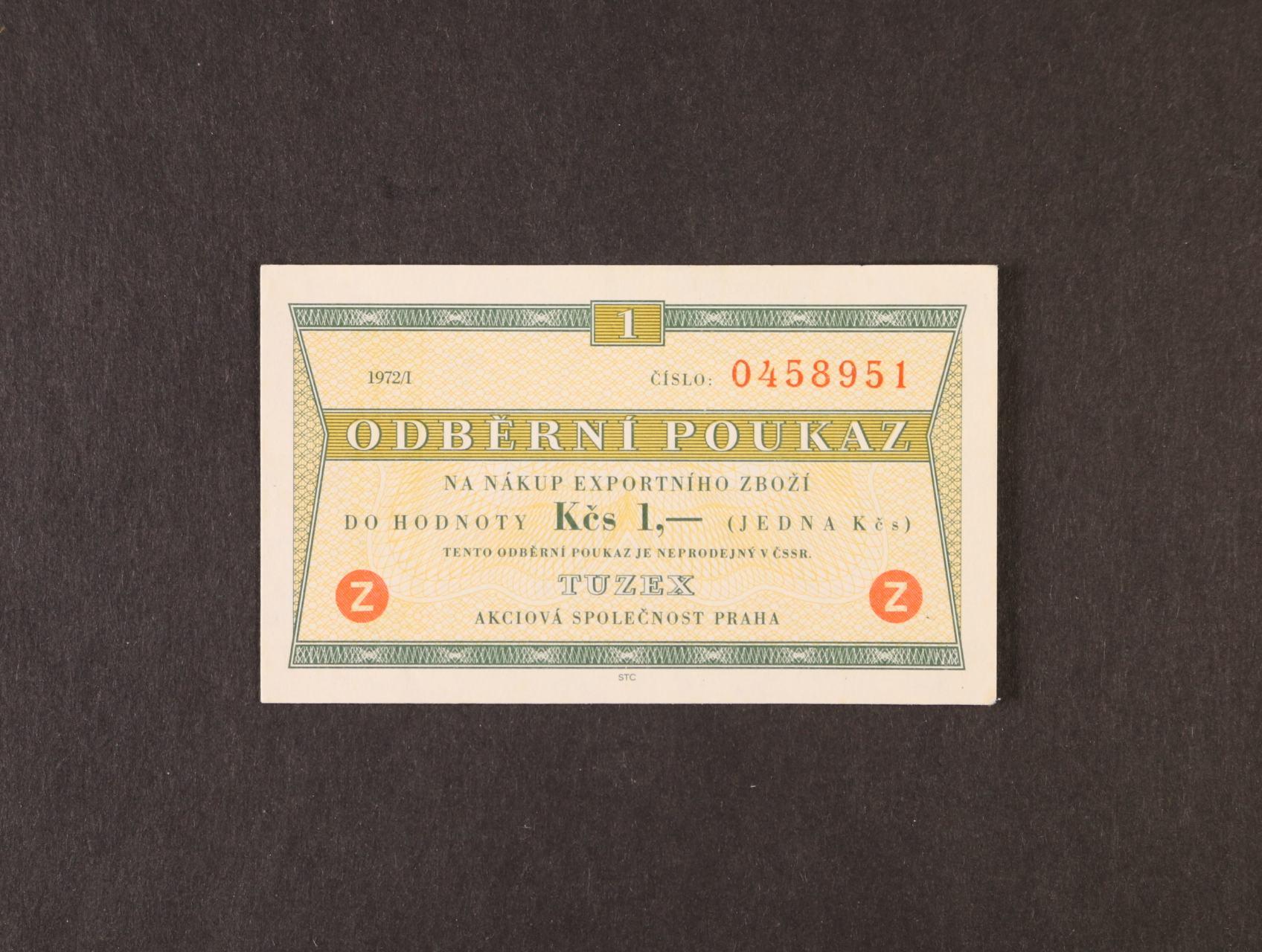 Tuzex, 1 TKčs s datem 1972/I