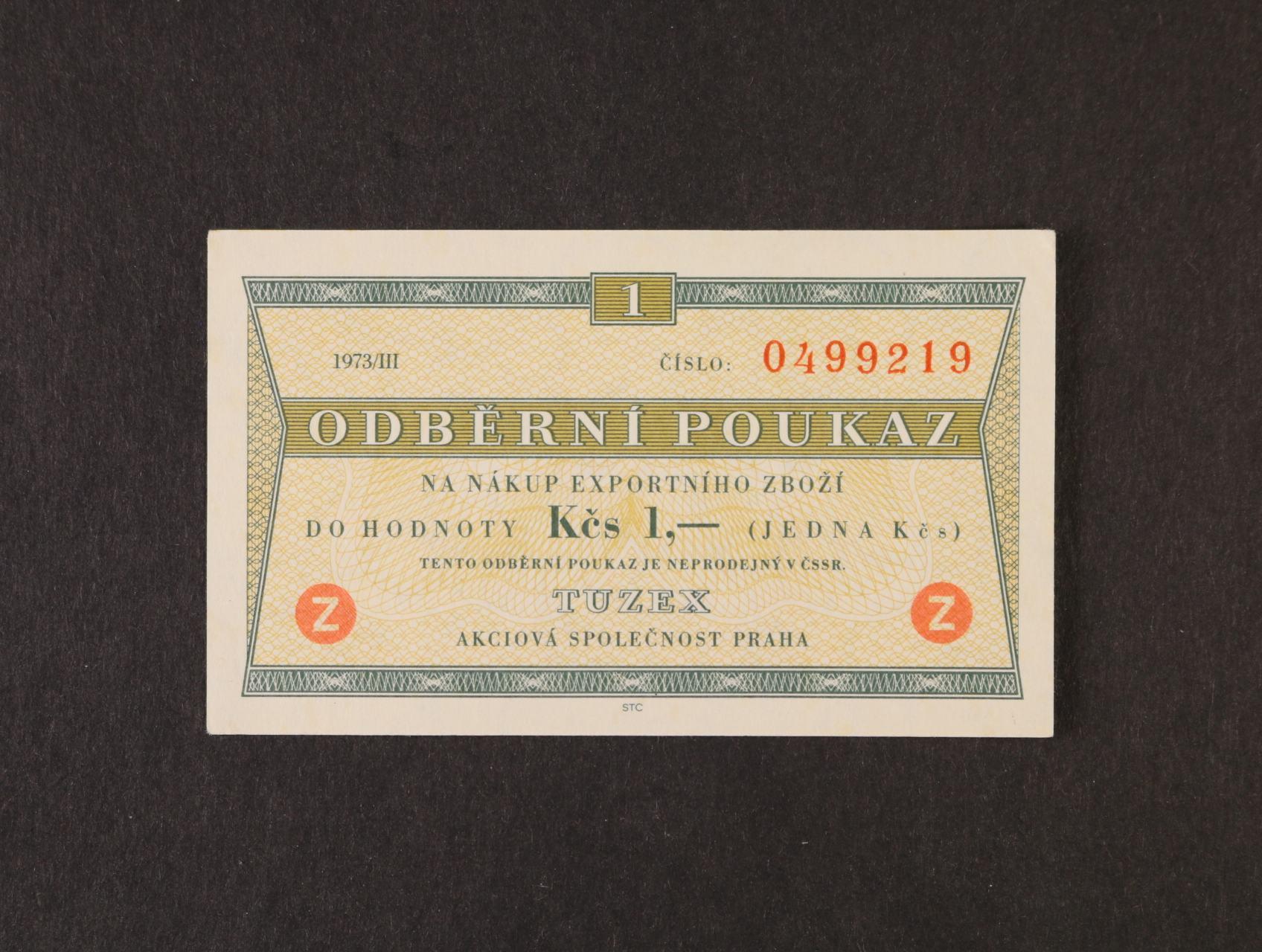 Tuzex, 1 TKčs s datem 1973/III