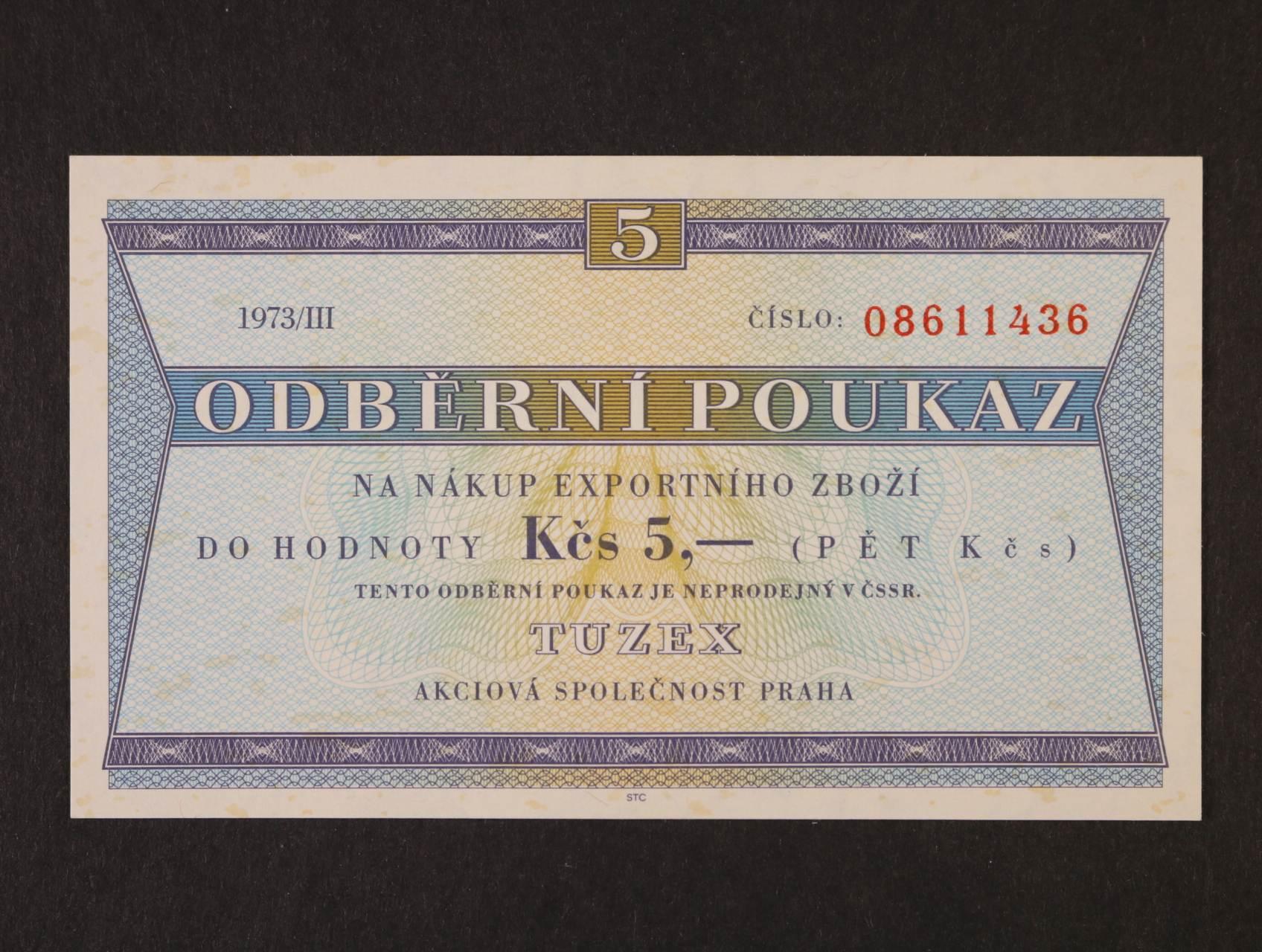 Tuzex, 5 TKčs s datem 1973/III, K.Š.K. 42/VI/a