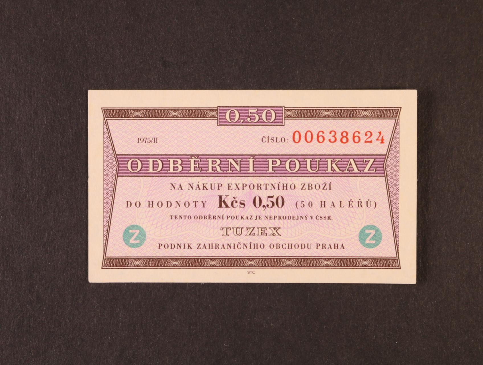Tuzex, 0,50 TKčs s datem 1975/II