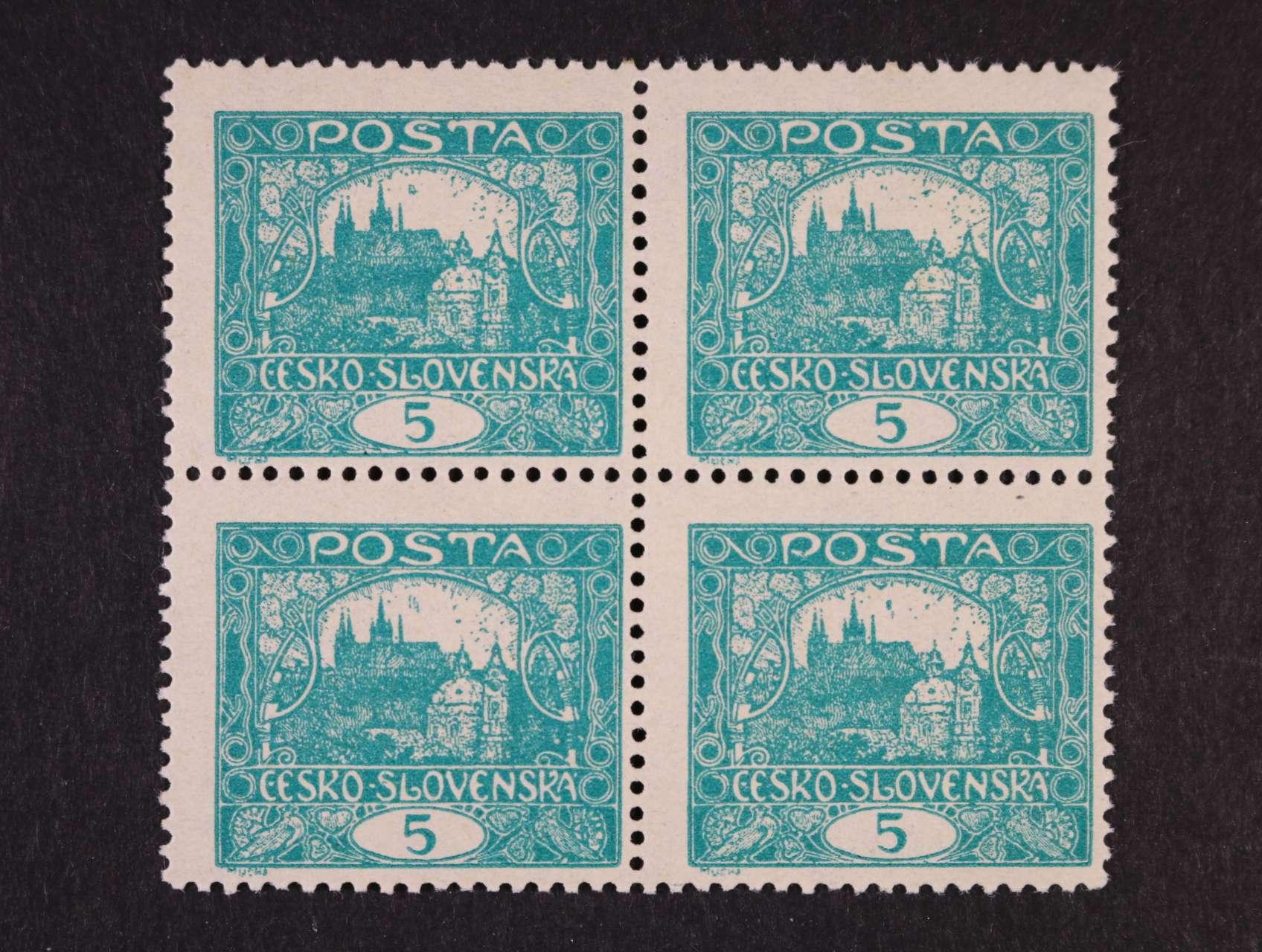 zn. č. 4 B STs 5h modrozelená ve čtyřbloku, TD 3, ZP 21, 22, 31, 32, zk. Vrba, kat. cena 8000 Kč, lux. kvalita