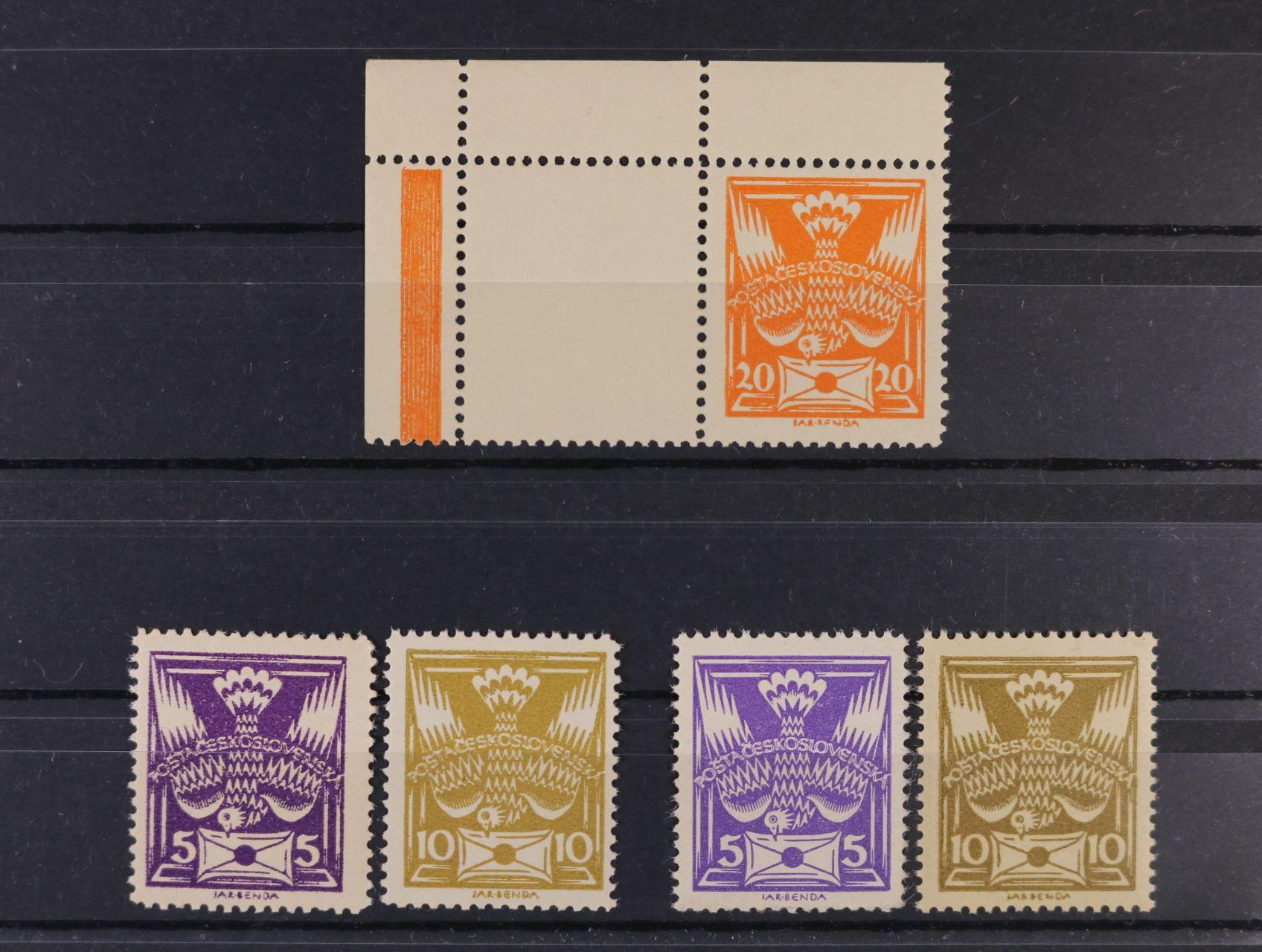 zn. č. 144 B + 146 B, 144 C + 146 C - ležmý hřeben,  zn. 148 B - levý horní roh. kus s kuponem, zk. Gilbert, Karásek, kat. cena 2500 Kč