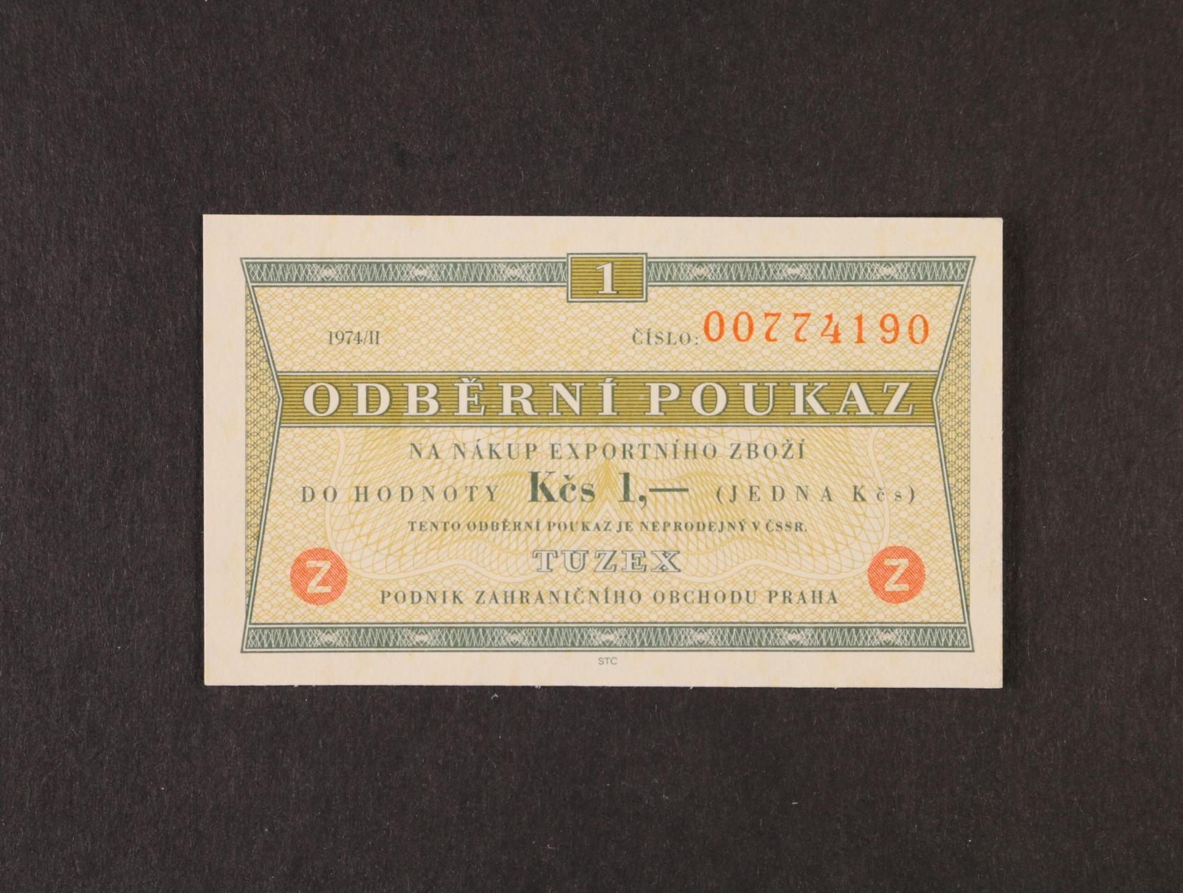 Tuzex, 1 TKčs s datem 1974/II