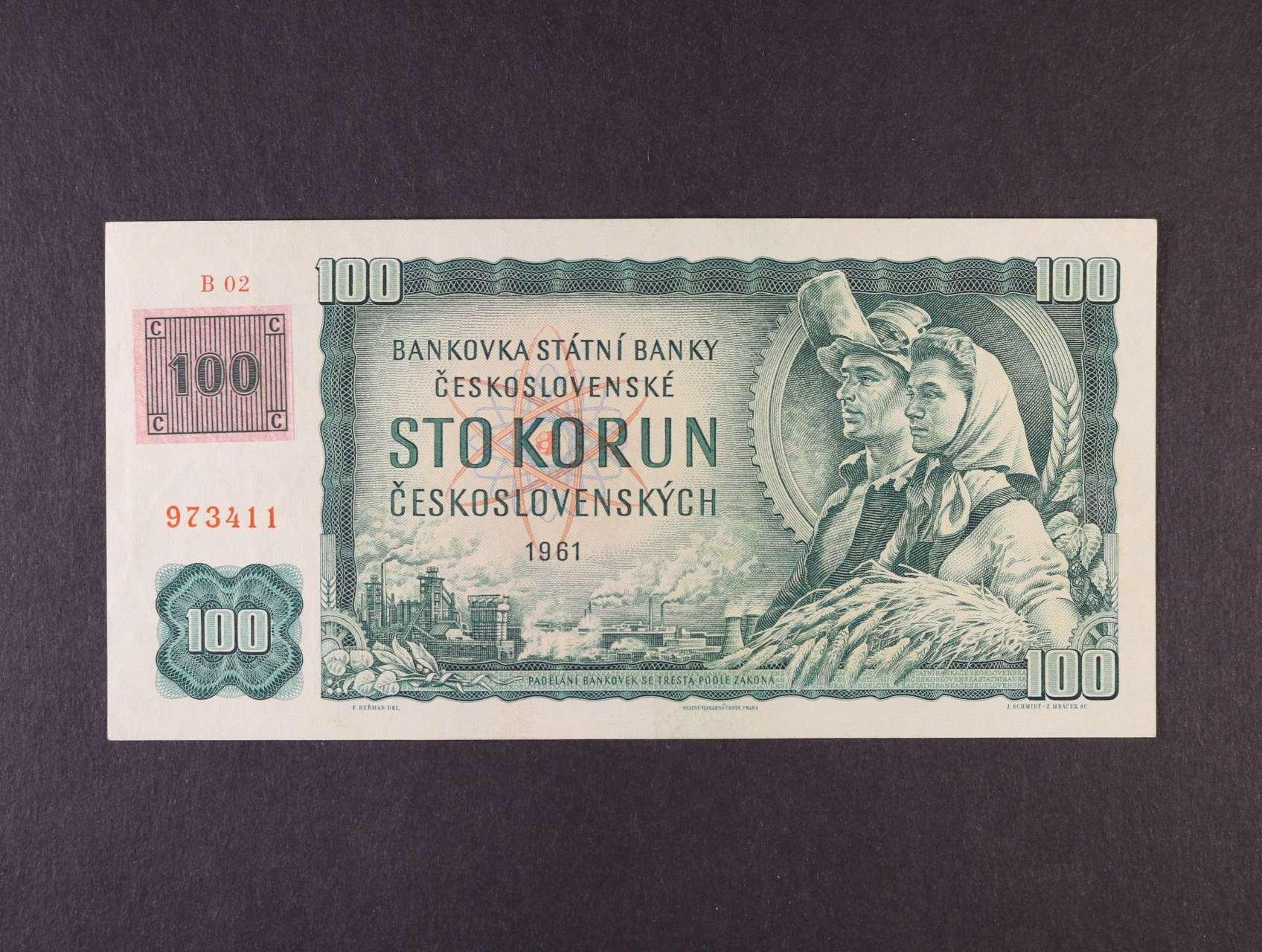 100 Kčs/Kč 1961/93 série B 02 kolkovaná, vodoznaková výztuž na líci bankovky, Ba. CZ 1a1, Pi. 1
