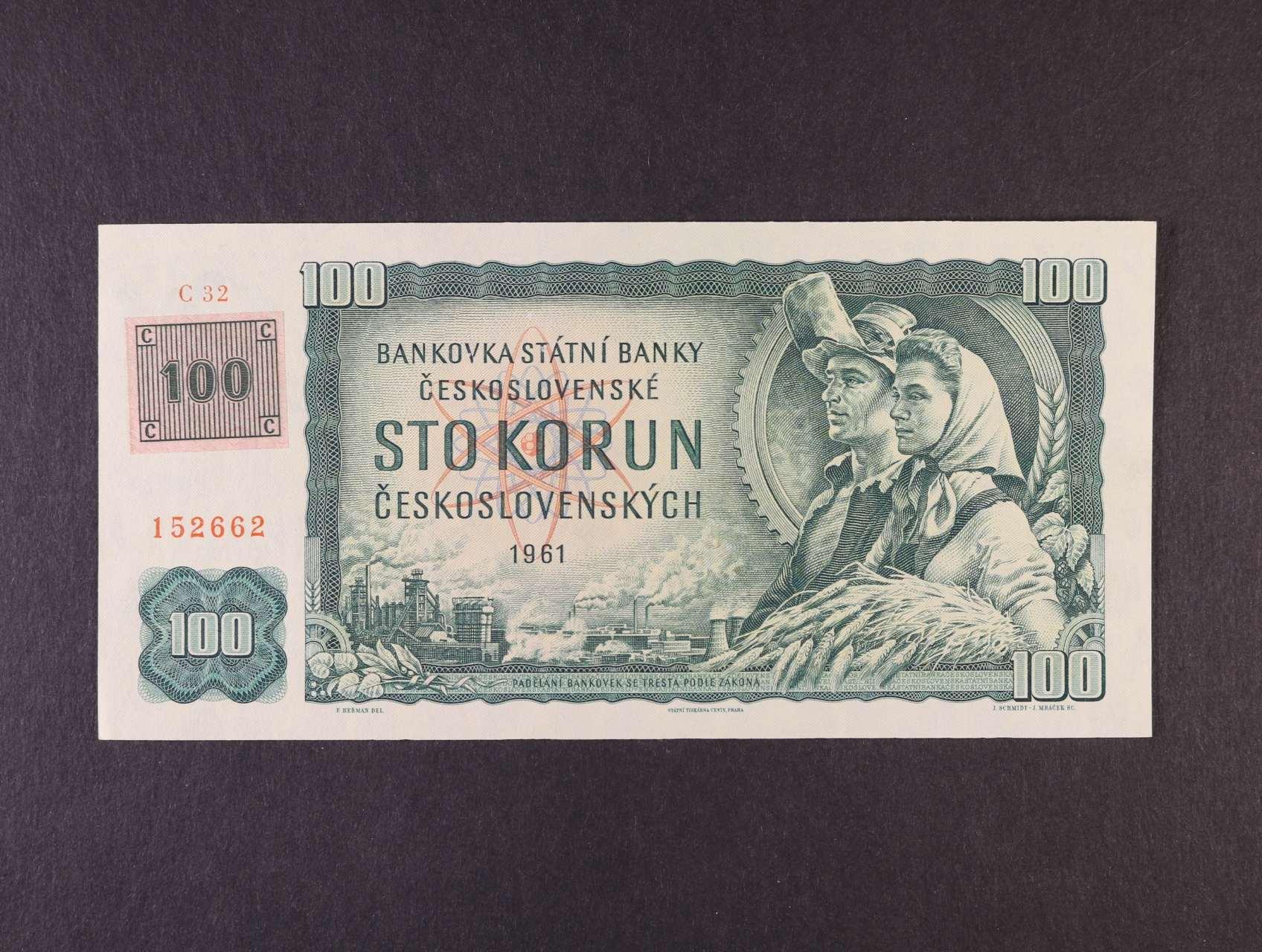 100 Kčs/Kč 1961/93 série C 32 kolkovaná, vodoznaková výztuž na rubu bankovky, Ba. CZ 1a1, Pi. 1