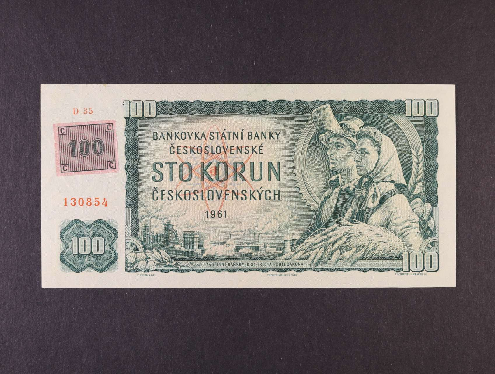100 Kčs/Kč 1961/93 série D 35 kolkovaná, vodoznaková výztuž na líci bankovky, Ba. CZ 1a2, Pi. 1