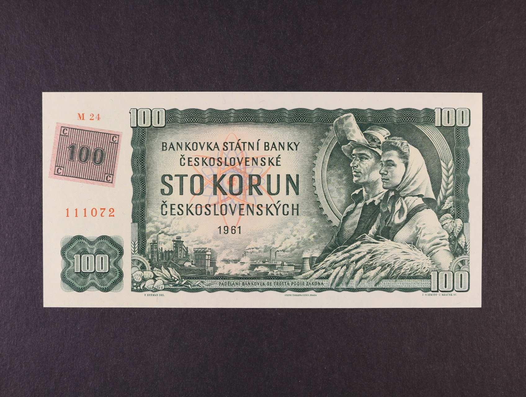 100 Kčs/Kč 1961/93 série M 24 kolkovaná, Ba. CZ 1e2, Pi. 1