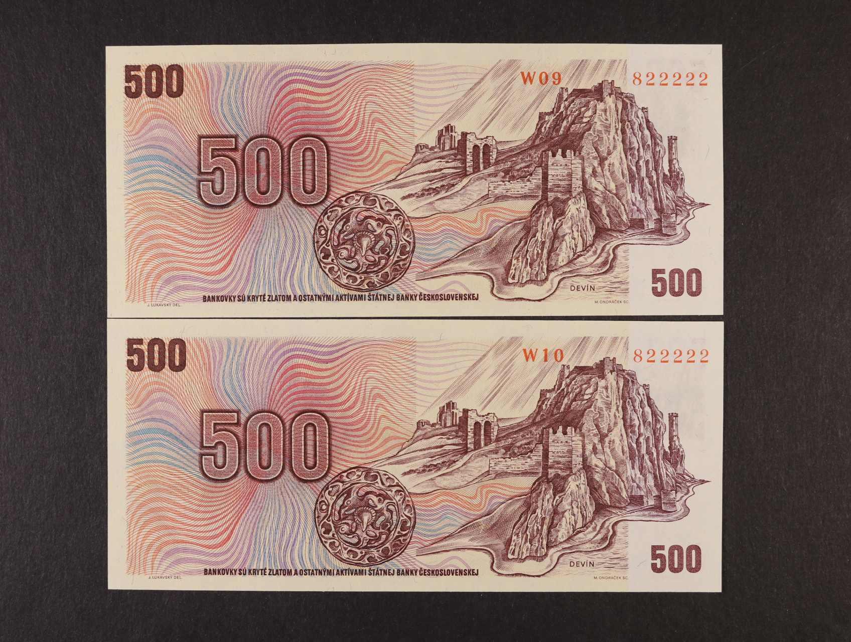 500 Kčs/Kč 1973/93 série W 09 a W 10 kolkované se stejným číslem 822222, Ba. CZ 2
