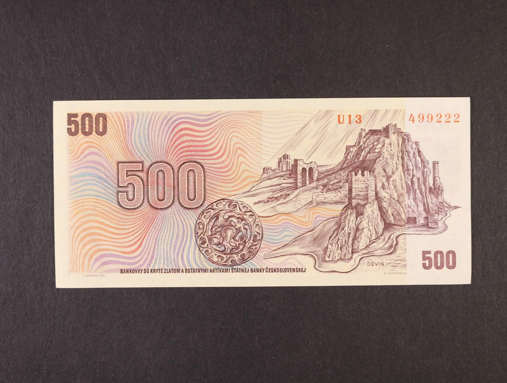 500 Kčs/Kč 1973/93 série U 13 kolkovaná, Ba. CZ 2