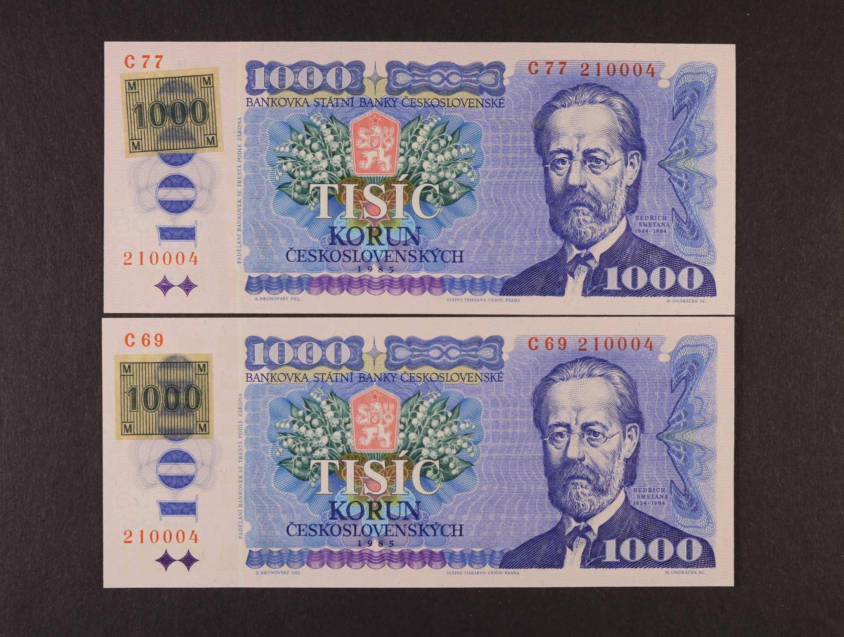 1000 Kčs/Kč 1985/93 série C 69 a C 77 kolkované lepeným kolkem, obě se stejným číslem 210004, Ba. CZ3a1, CZ10a