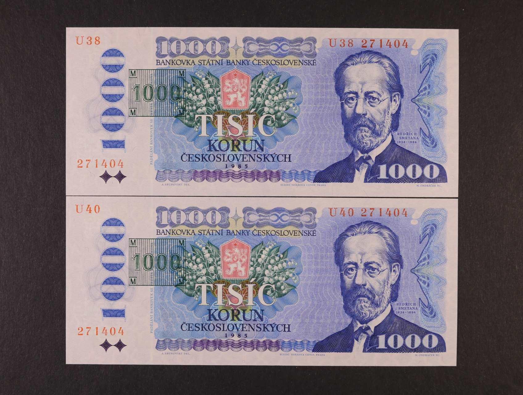 1000 Kčs/Kč 1985/93 série U 38 a U 40 kolkované tištěným kolkem, obě se stejným číslem 271404, Ba. CZ3b, CZ10a
