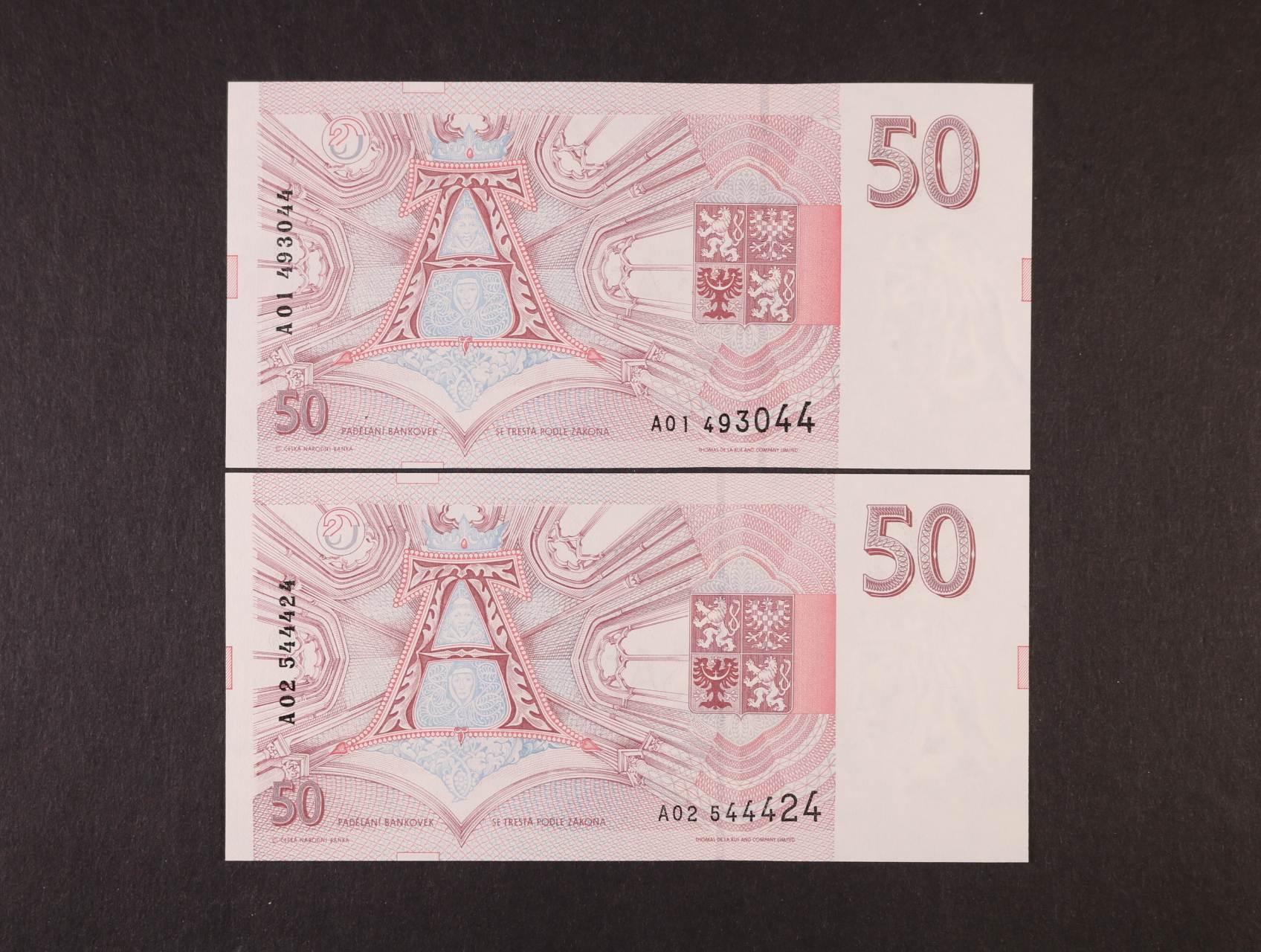 50 Kč 1993 série A 01, A 02, Ba. CZ 4, Pi. 4, 2ks