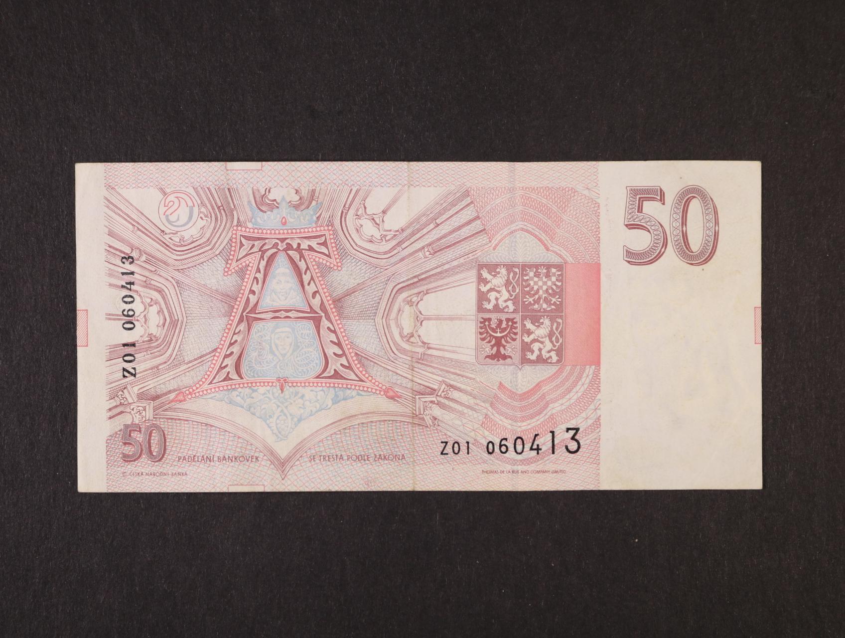 50 Kč 1993 série Z 01, Ba. CZ 4, Pi. 4r