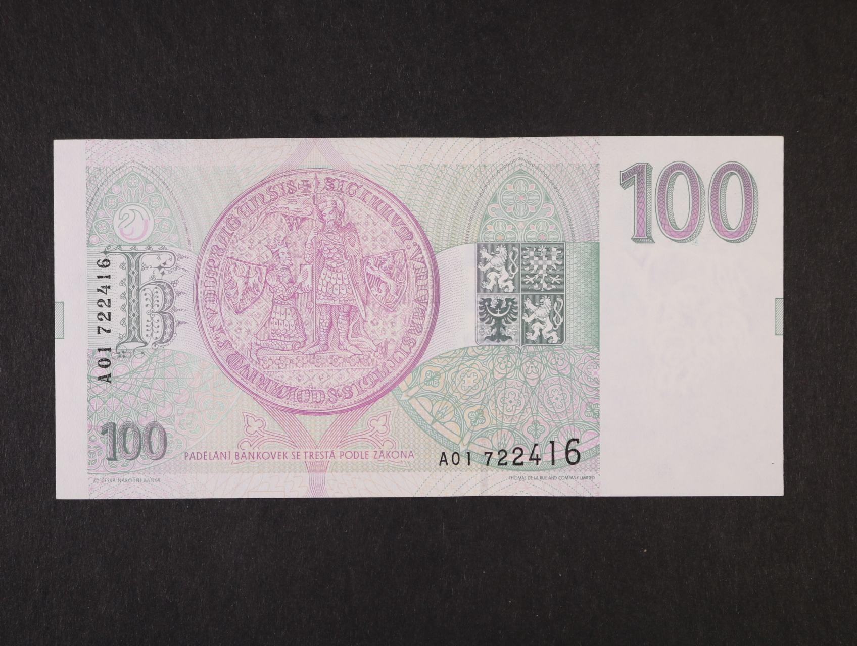 100 Kč 1993 série A 01, Ba. CZ5, Pi. 5a