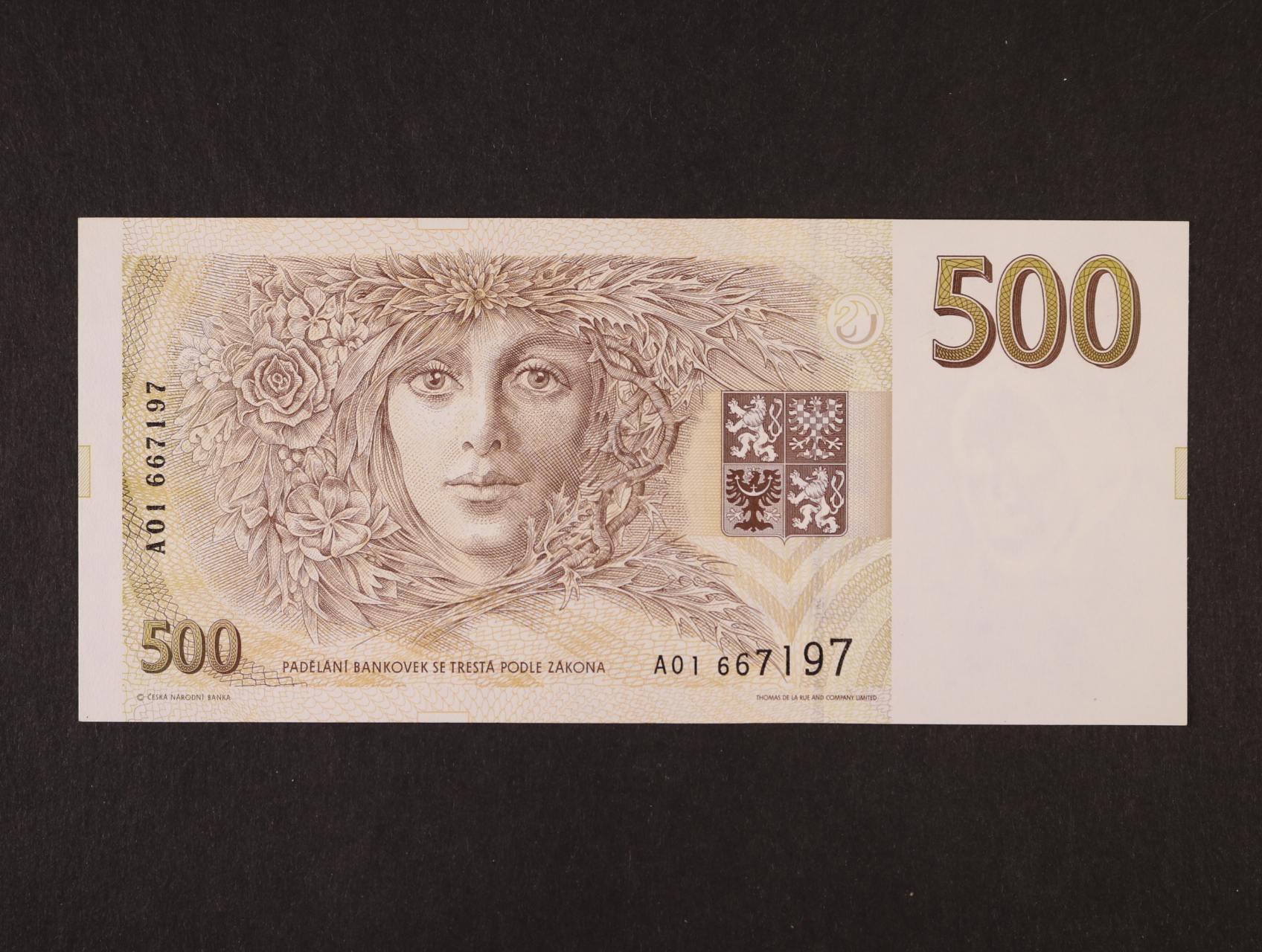 500 Kč 1993 série A 01, Ba. CZ 7a, Pi. 7a