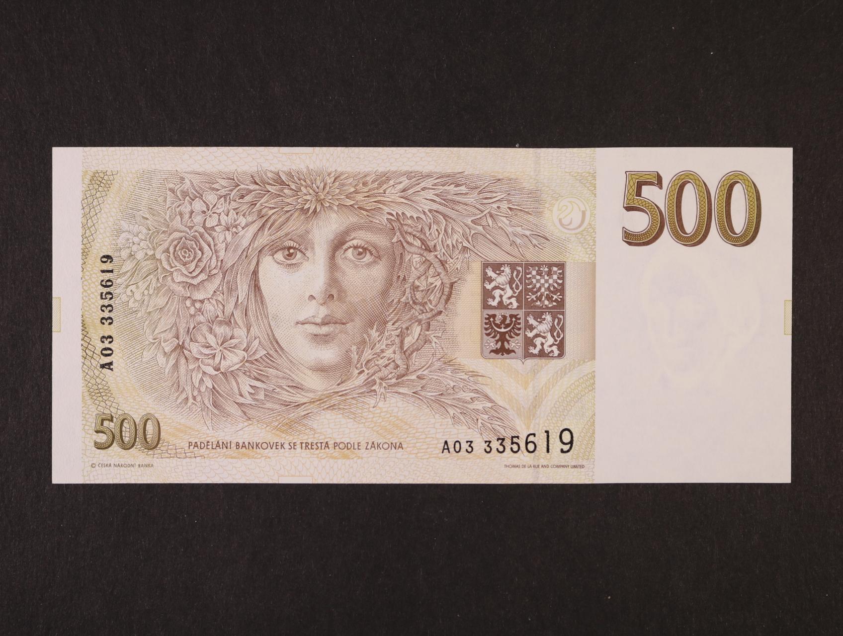 500 Kč 1993 série A 03, Ba. CZ 7a, Pi. 7a