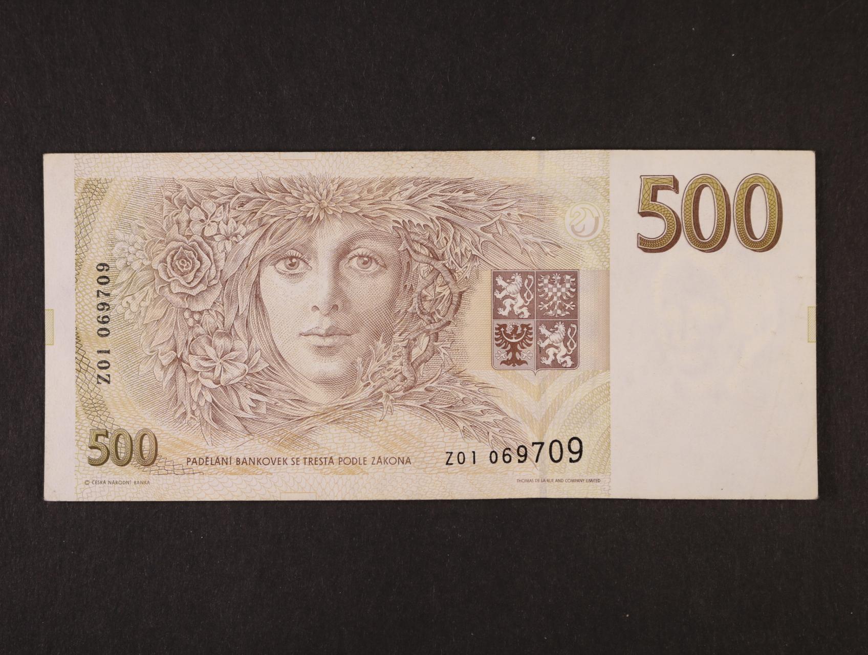 500 Kč 1993 série Z 01, Ba. CZ 7b, Pi. 7r