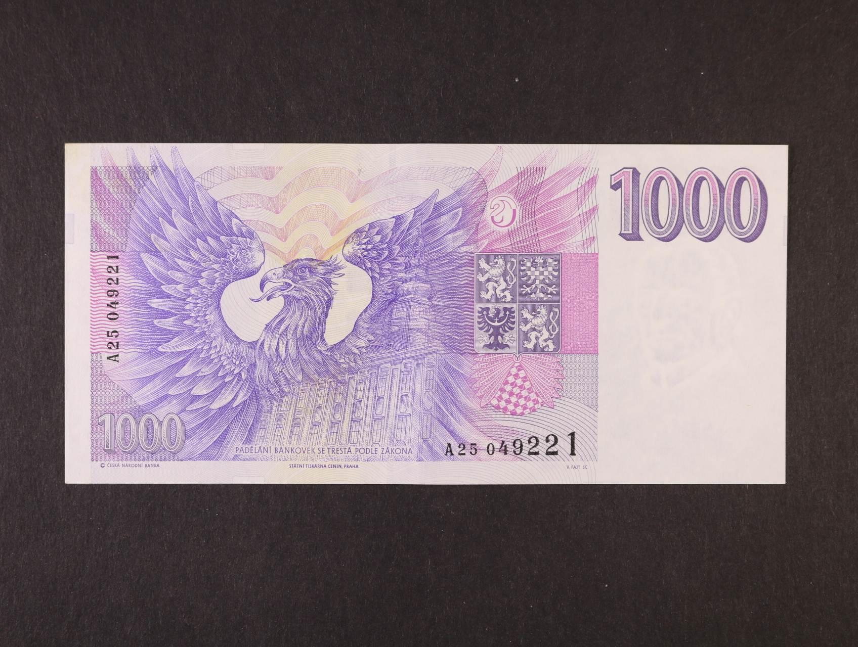 1000 Kč 1993 série A 25, Ba. CZ 8, Pi. 8a