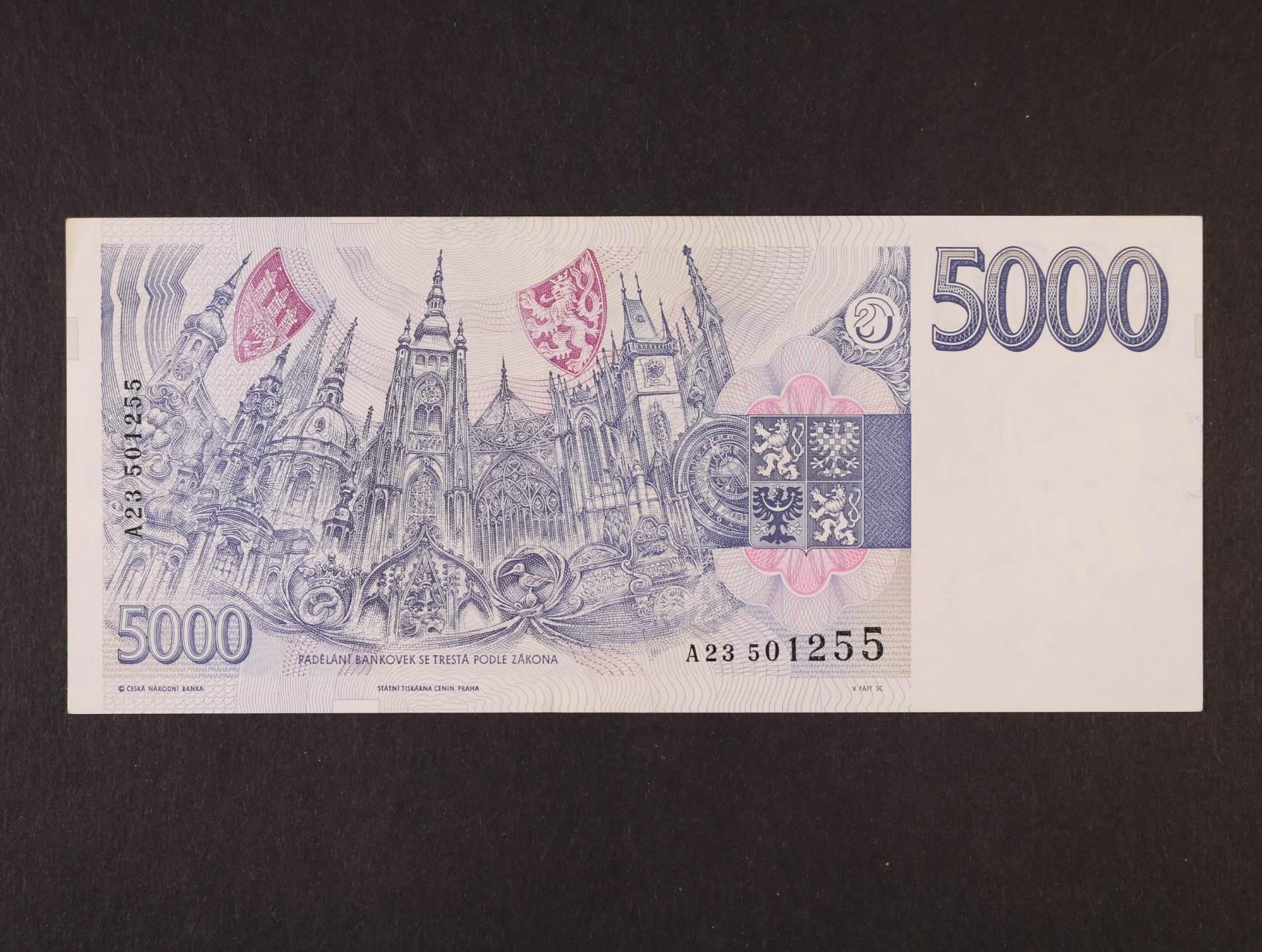5000 Kč 1993 série A 23, Ba. CZ9, Pi. 9a
