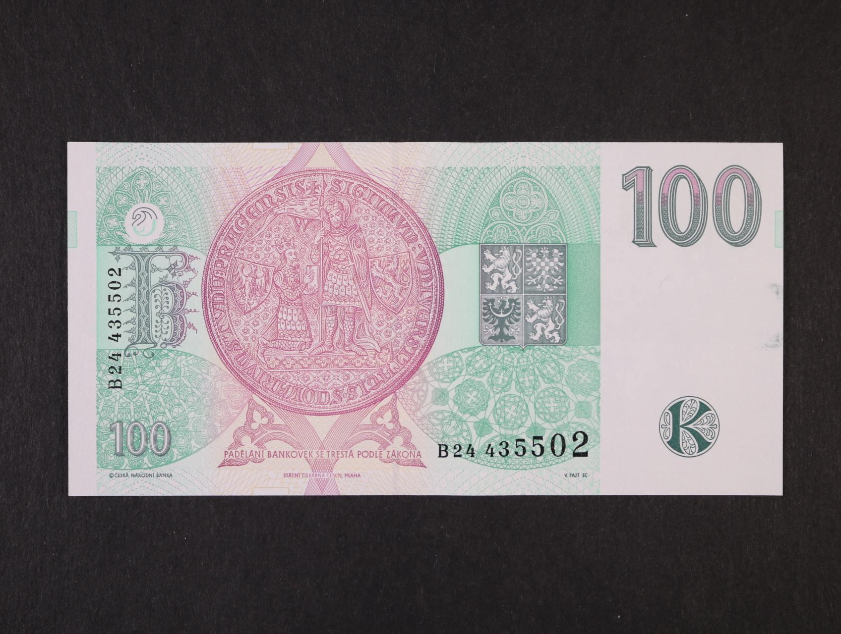 chybotisk, 100 Kč 1995 série B 24 s převráceným papírem (vodoznak a proužek), Ba. CZ 12, Pi. 12
