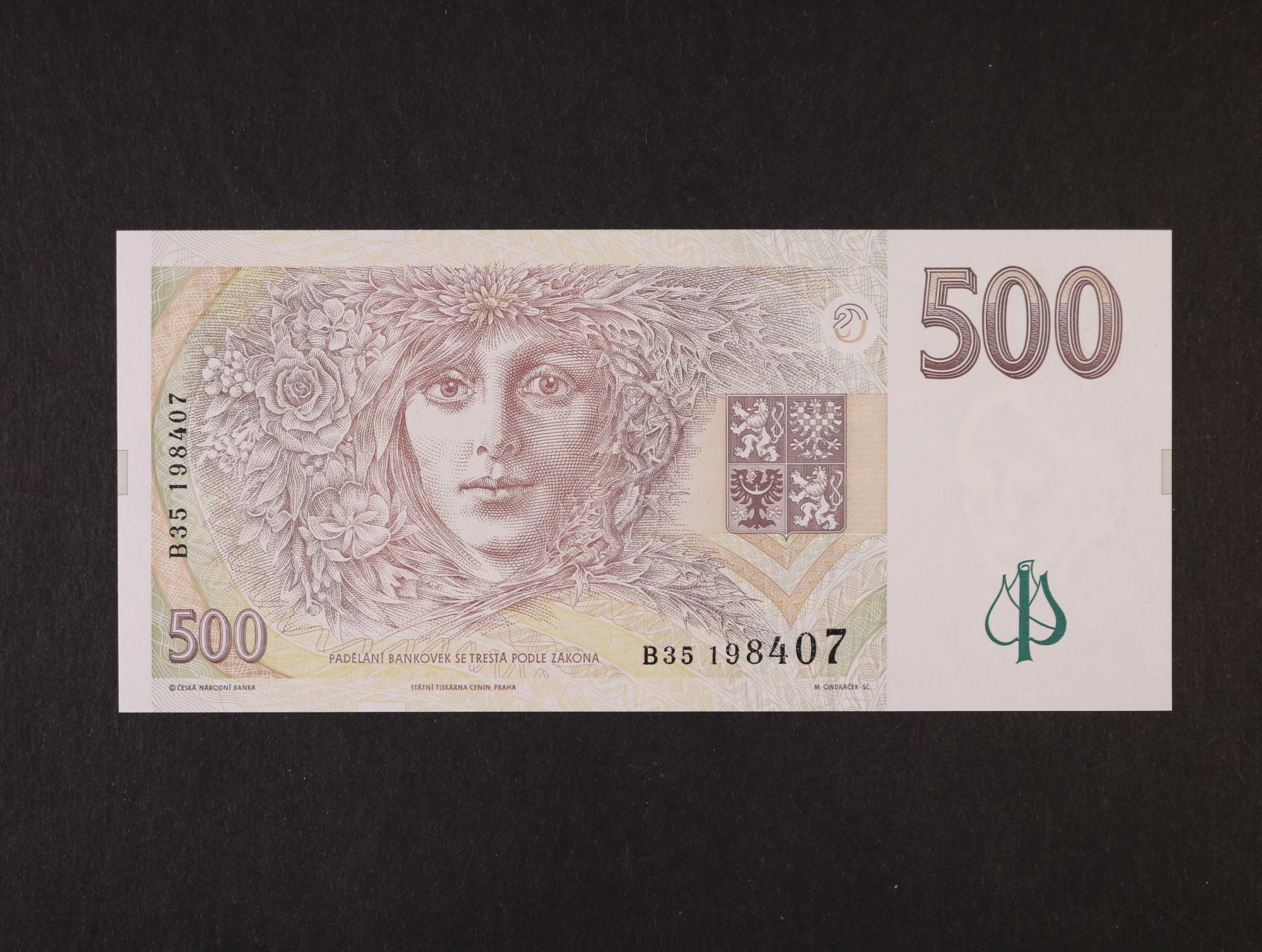 500 Kč 1995 série B 35, Ba. CZ 13, Pi. 14a