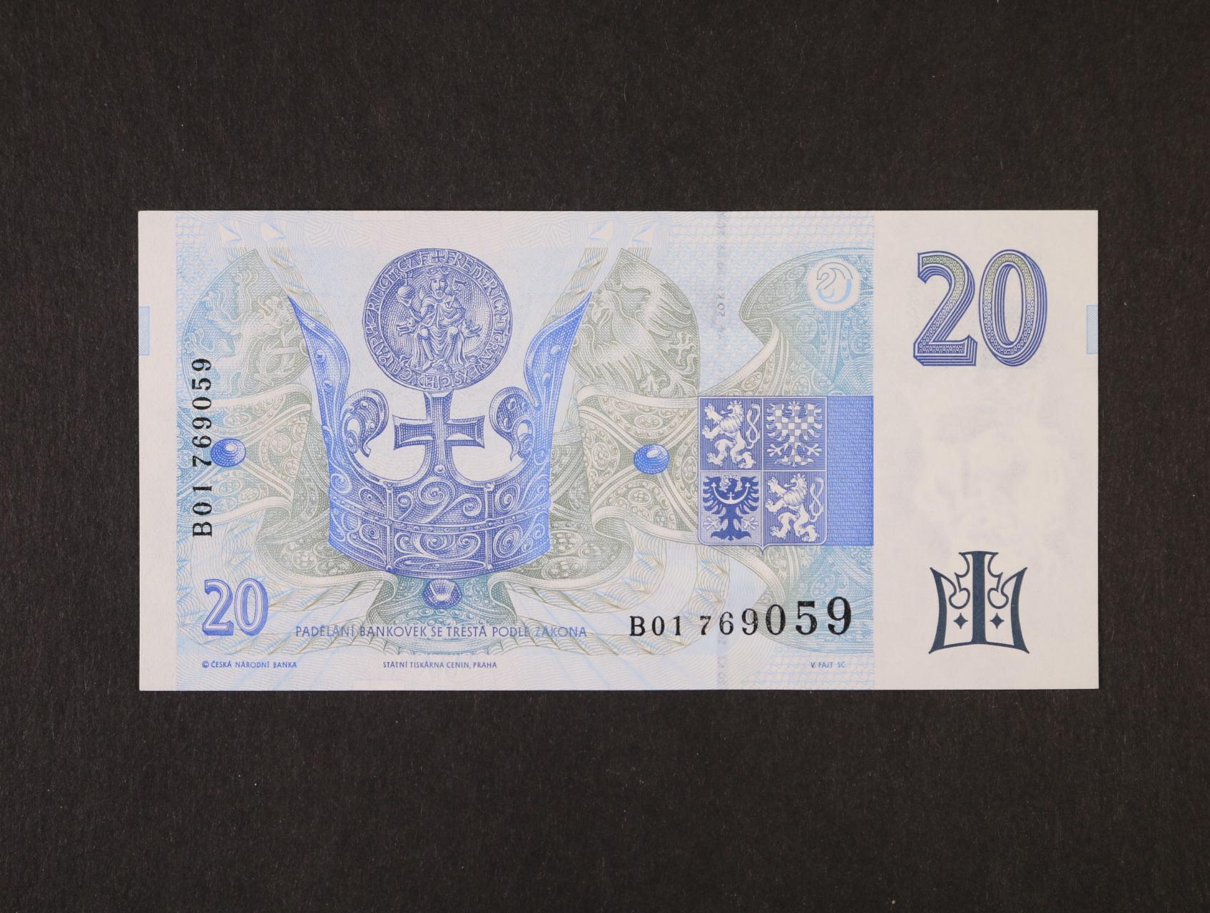 200 Kč 1996 série B 01, Ba. CZ 14, Pi. 13a