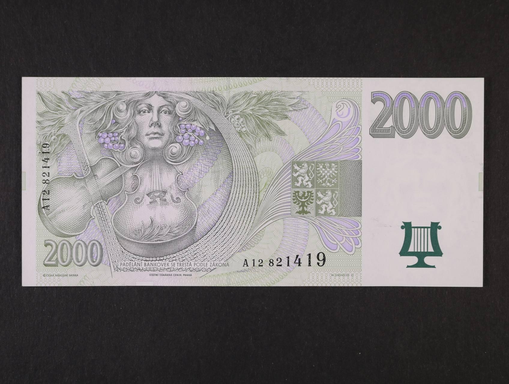 2000 Kč 1996 série A 12, Ba. CZ 16, Pi. 16