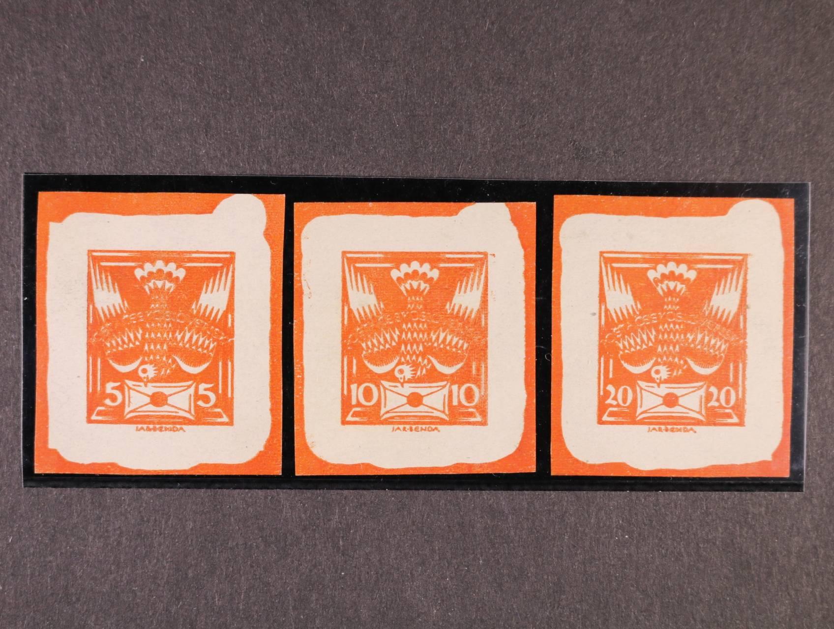 ZT 5, 10 a 20h v barvě oranžové - rozstříhaný soutisk, z nevyčištěné desky, zk. Vrba
