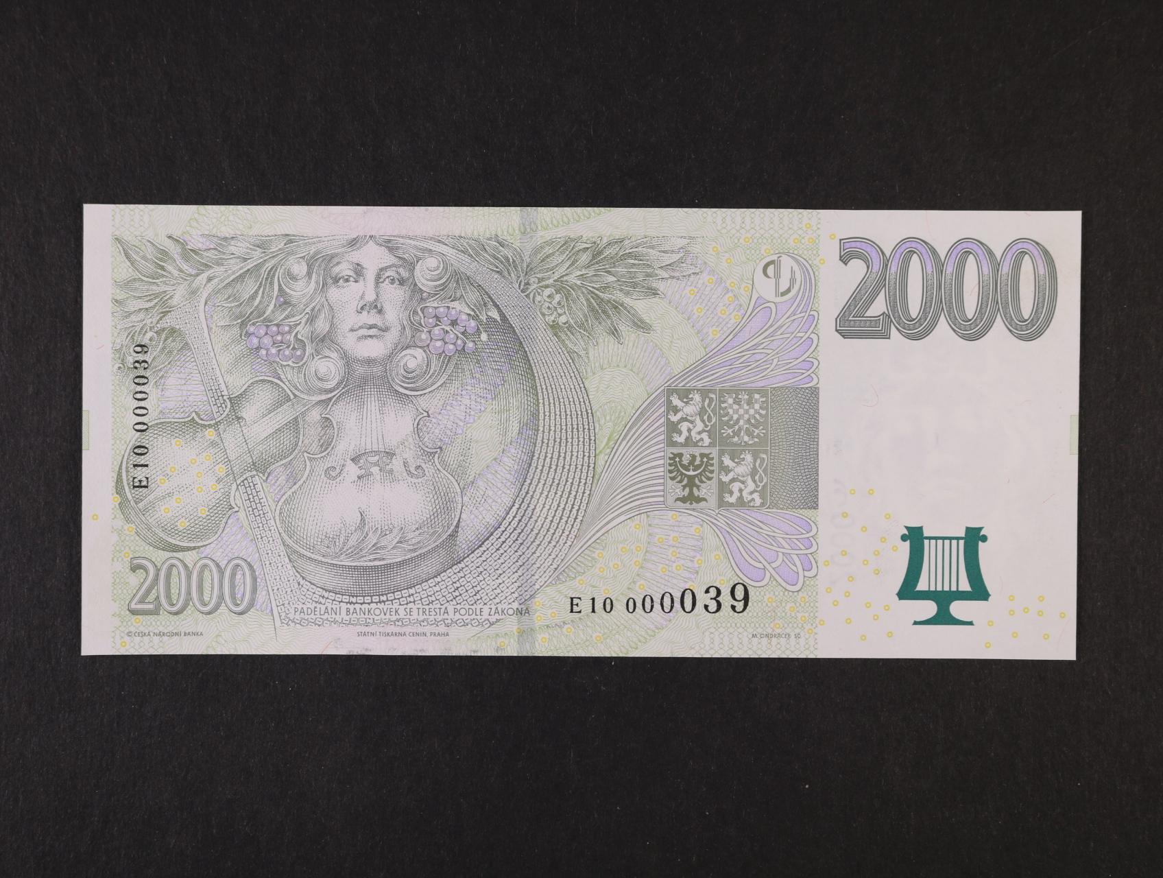 2000 Kč 2007 série E 10 000039, Ba. CZ 23