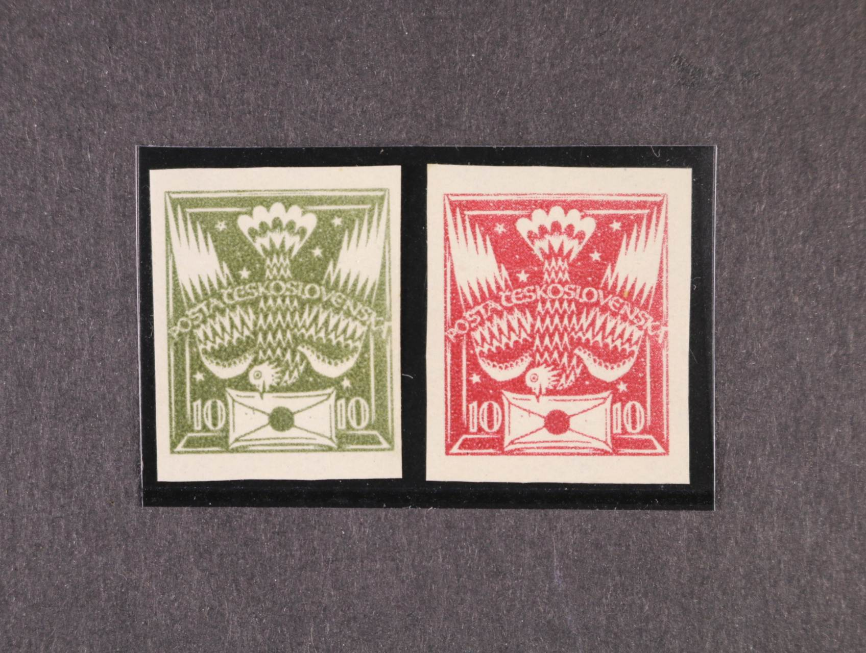 ZT 10h - původní návrh se šesti hvězdičkami v pozadí v barvě tmavě olivové a červenofialové, zk. Karásek, Vrba
