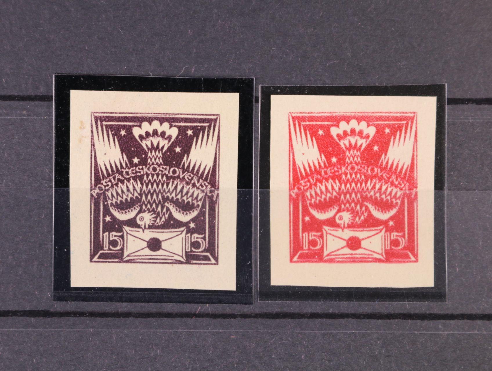 ZT 15h původní návrh s šesti hvězdičkami v pozadí v barvě fialové a tmavě červené, zk. Vrba