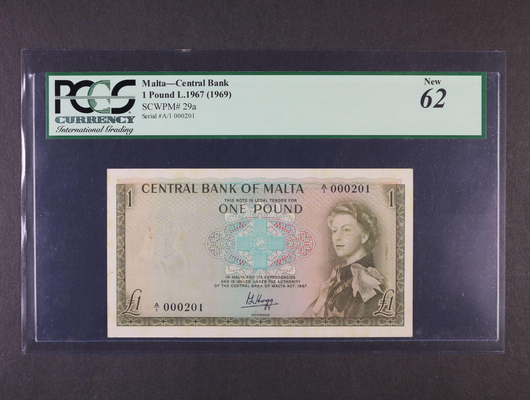 1 Pound 1967 (1969) série A/1 000201, Pi. 29a, PCGS 62