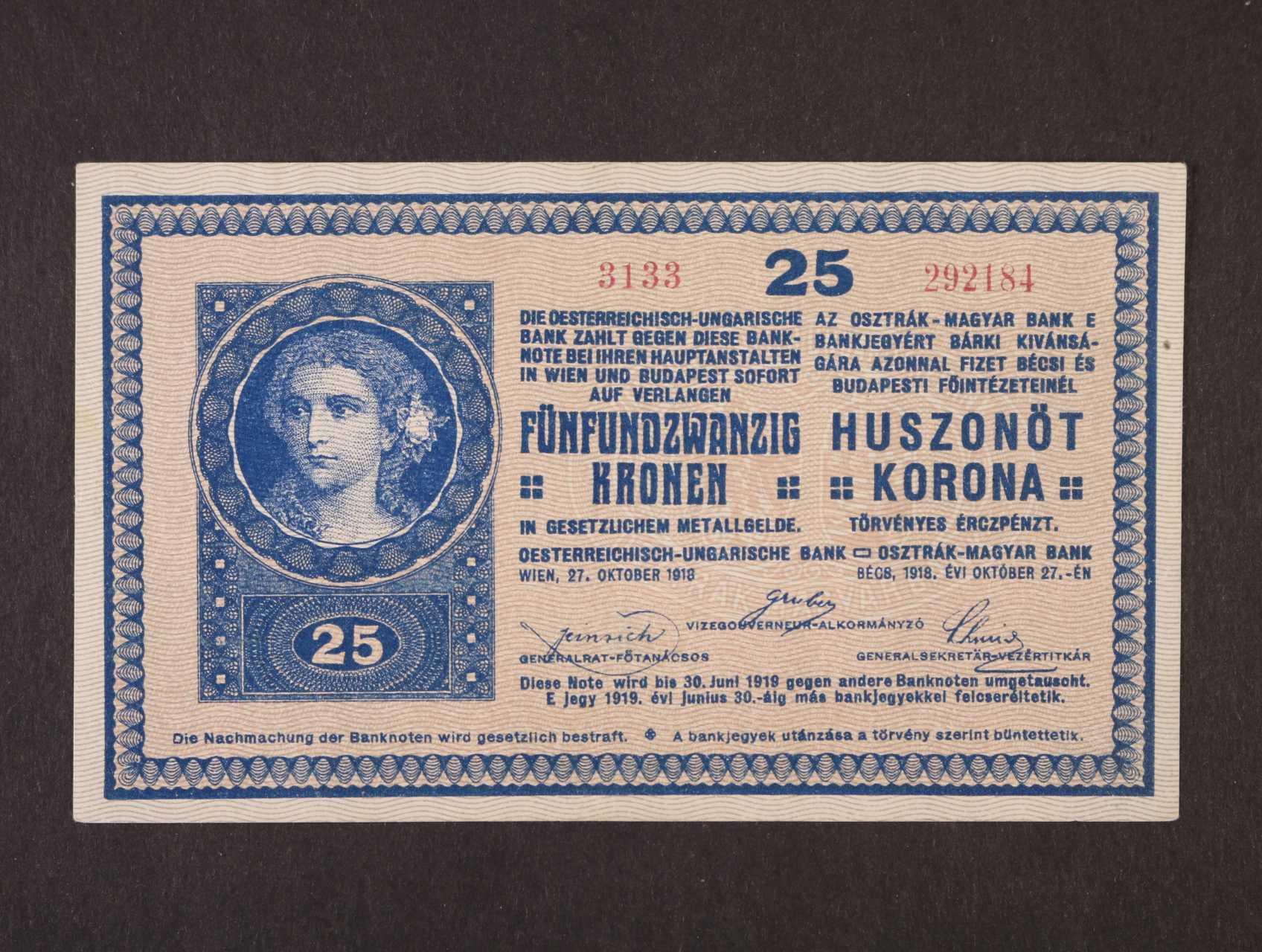 25 K 27.10.1918 série 3133,  s podtiskem na R, Ri. 448b, Pi. 12