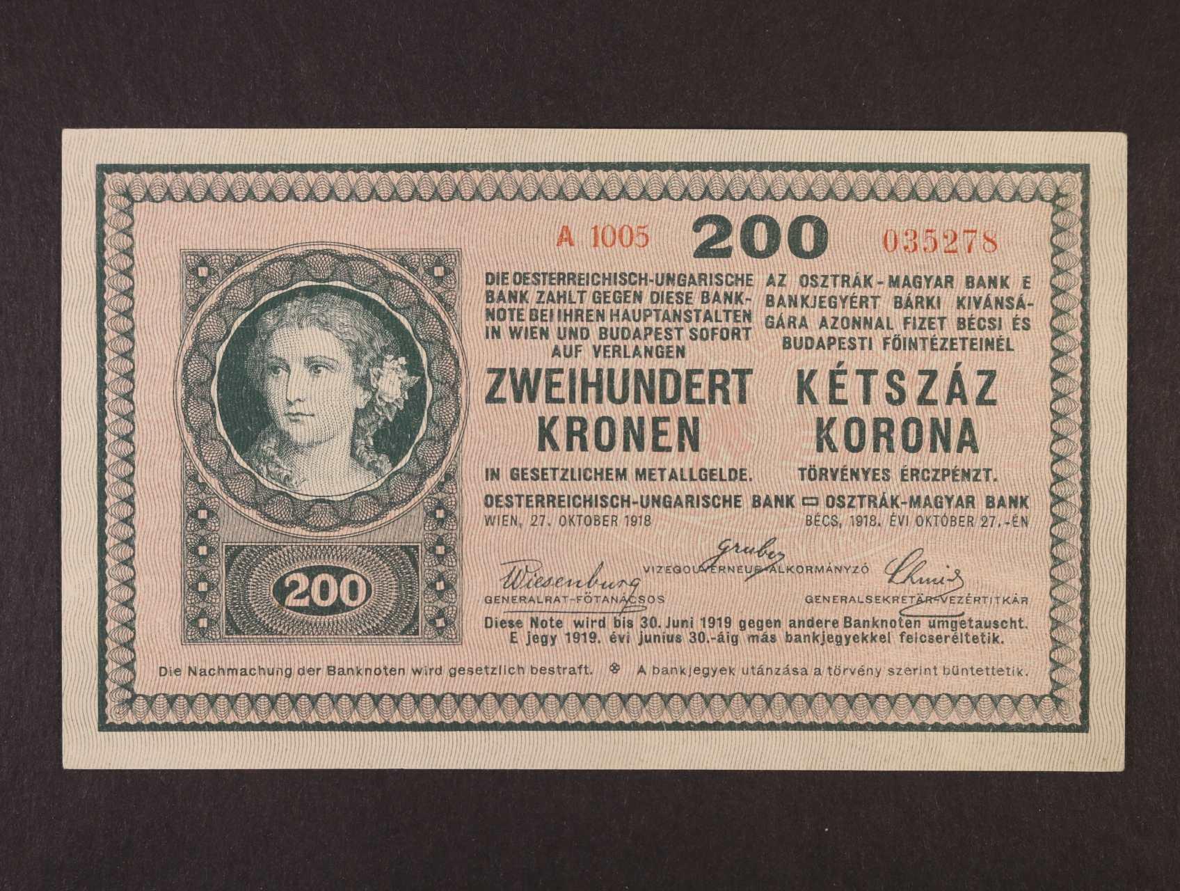 200 K 27.10.1918 série A 1005 bez podtisku na R, Ri. 445, Pi. 14